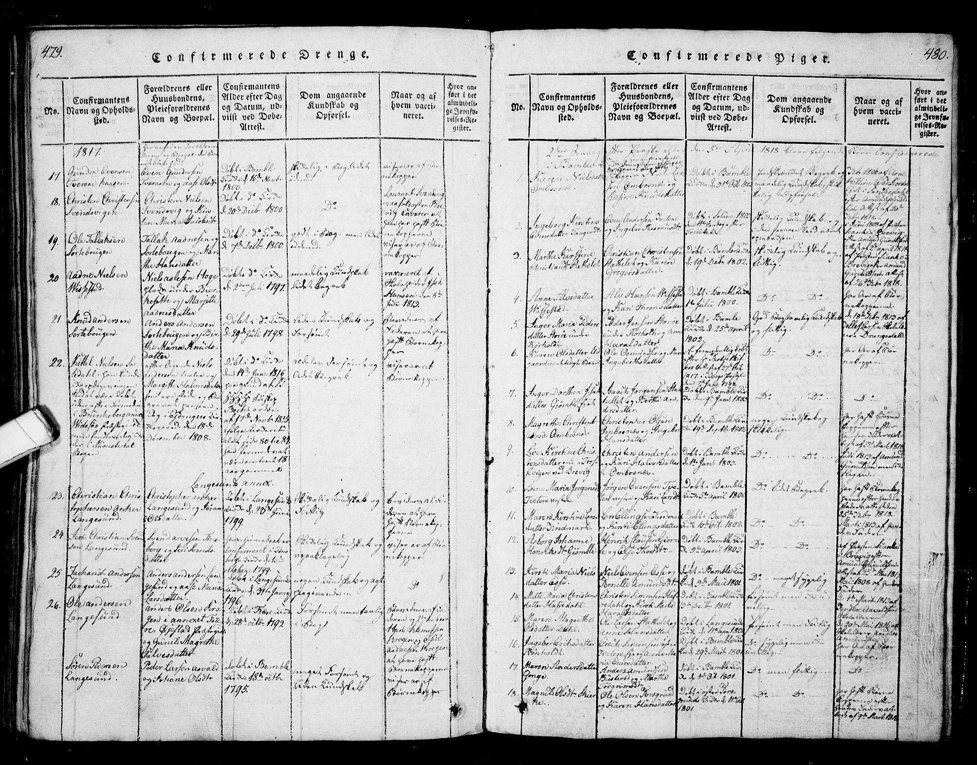 SAKO, Bamble kirkebøker, G/Ga/L0005: Klokkerbok nr. I 5, 1814-1855, s. 479-480
