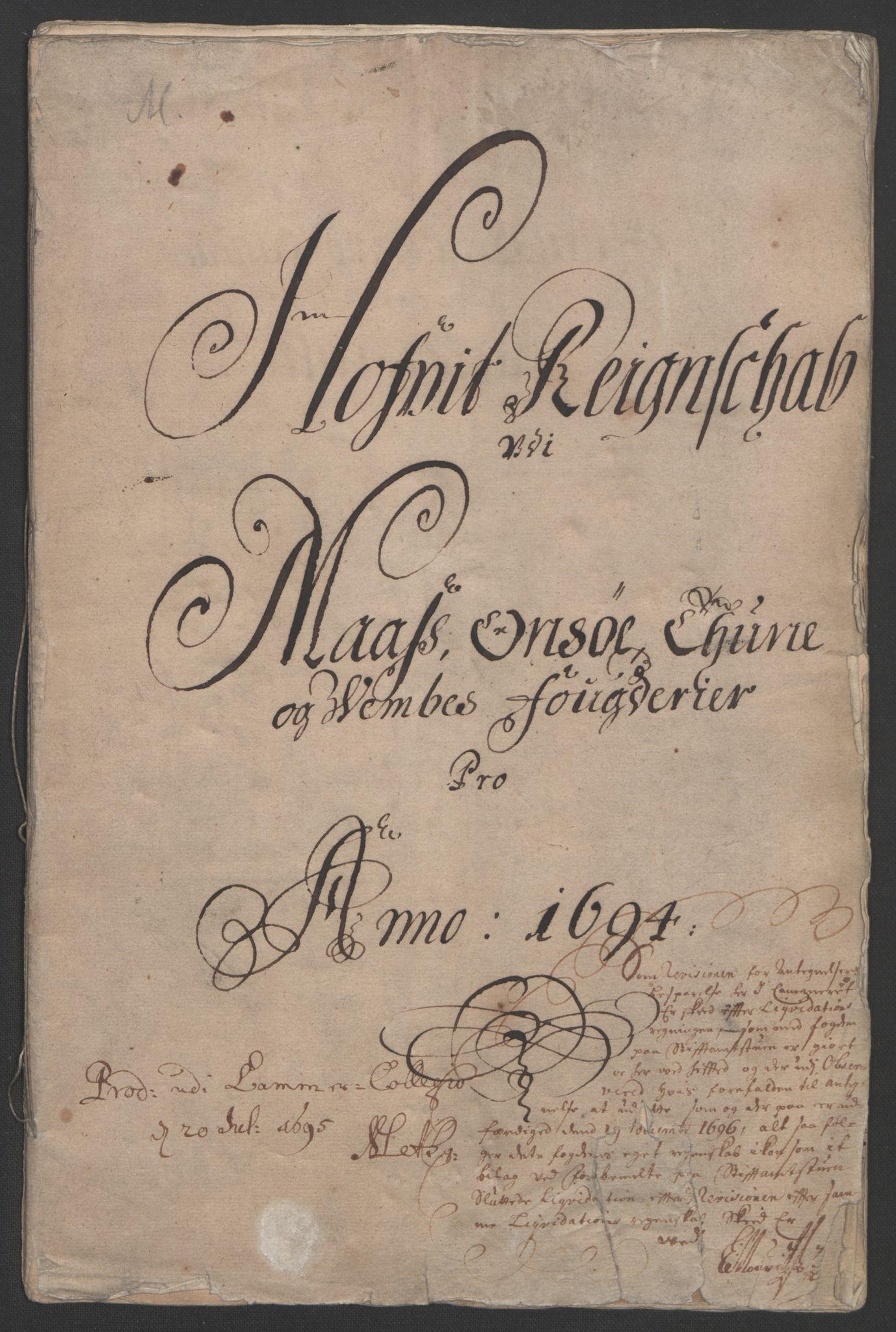 RA, Rentekammeret inntil 1814, Reviderte regnskaper, Fogderegnskap, R03/L0121: Fogderegnskap Onsøy, Tune, Veme og Åbygge fogderi, 1694, s. 3