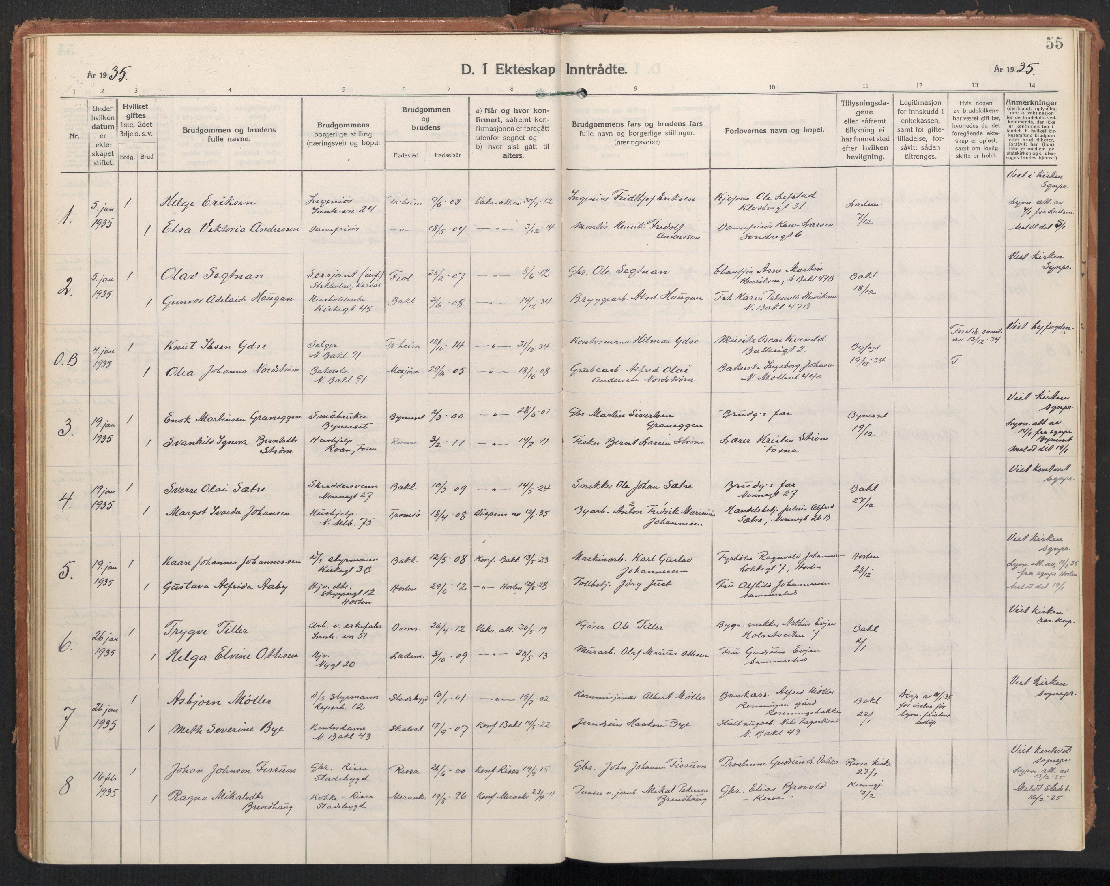 SAT, Ministerialprotokoller, klokkerbøker og fødselsregistre - Sør-Trøndelag, 604/L0209: Ministerialbok nr. 604A29, 1931-1945, s. 55