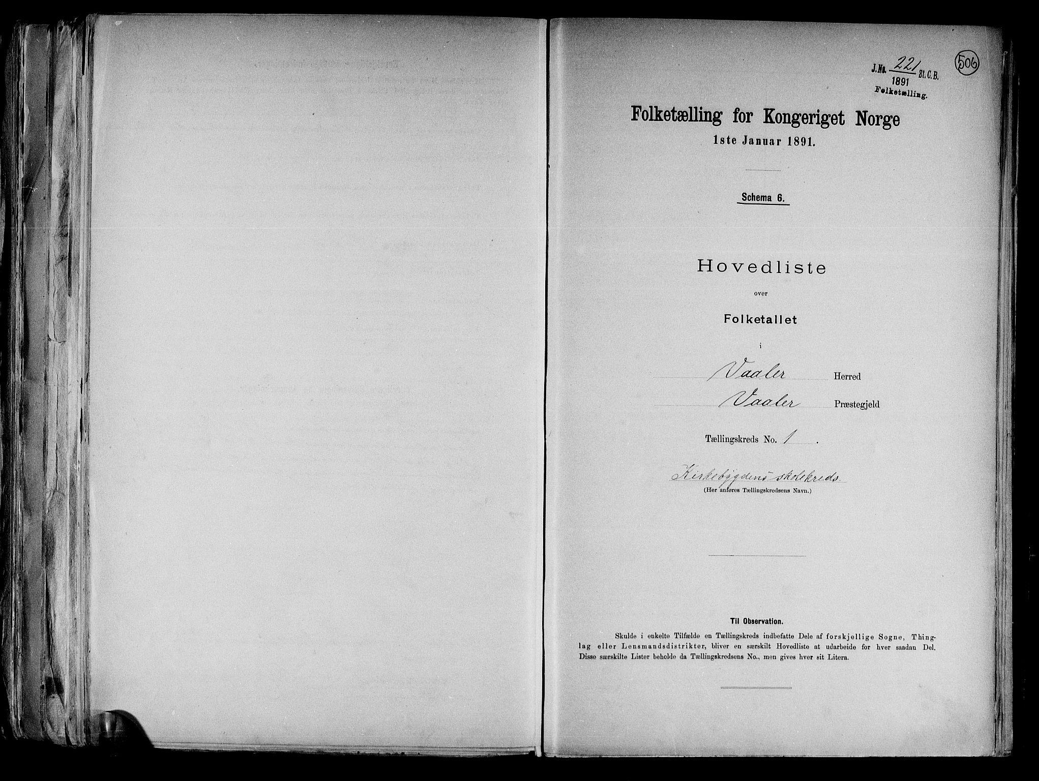 RA, Folketelling 1891 for 0137 Våler herred, 1891, s. 4