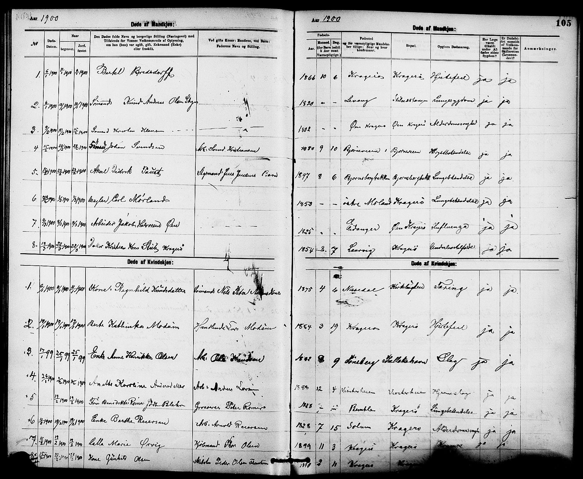 SAKO, Kragerø kirkebøker, G/Ga/L0008: Klokkerbok nr. 8, 1881-1914, s. 105