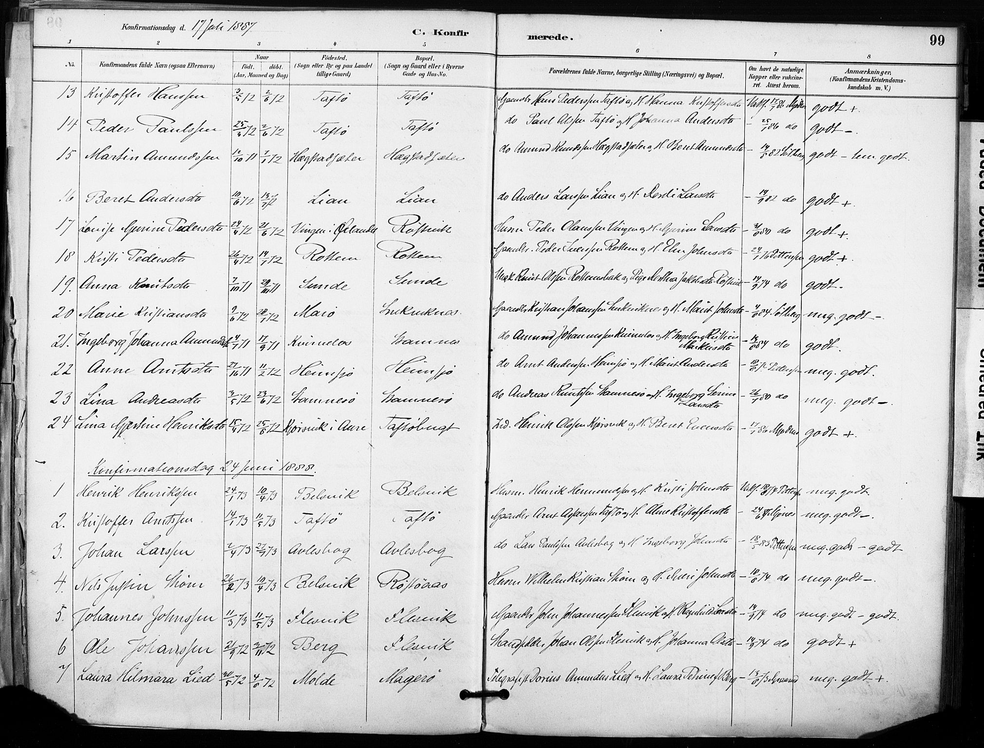 SAT, Ministerialprotokoller, klokkerbøker og fødselsregistre - Sør-Trøndelag, 633/L0518: Ministerialbok nr. 633A01, 1884-1906, s. 99