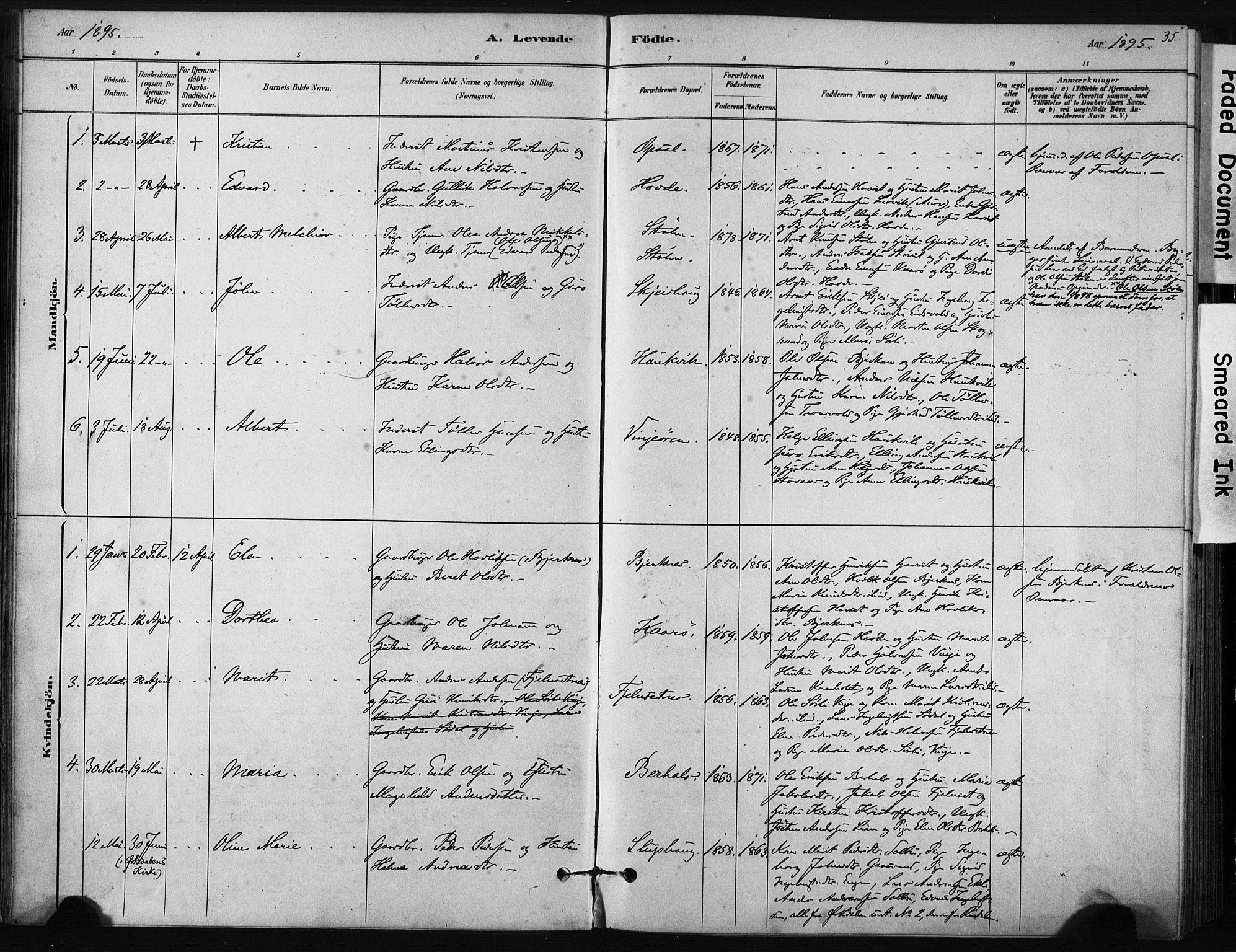 SAT, Ministerialprotokoller, klokkerbøker og fødselsregistre - Sør-Trøndelag, 631/L0512: Ministerialbok nr. 631A01, 1879-1912, s. 35