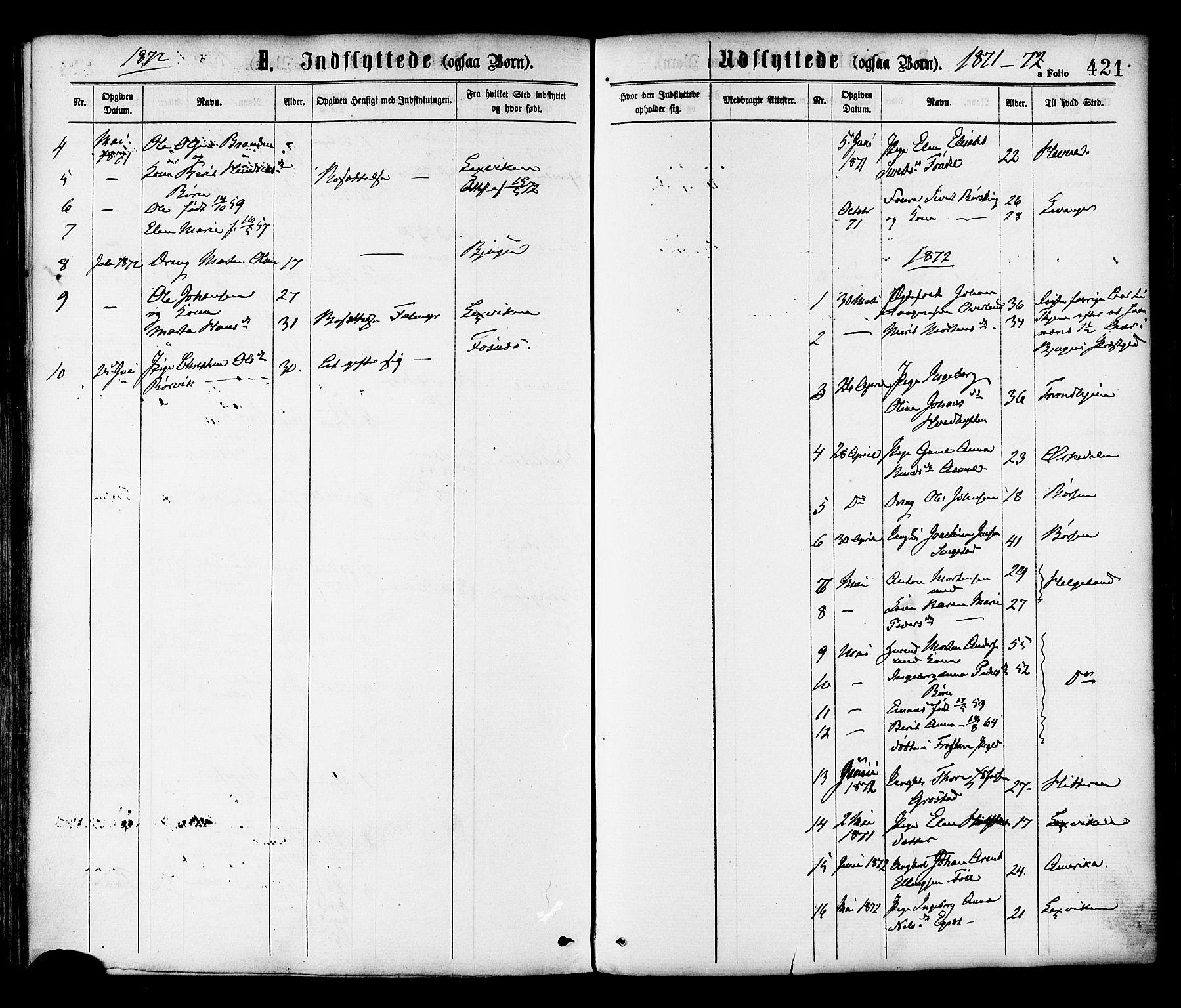 SAT, Ministerialprotokoller, klokkerbøker og fødselsregistre - Sør-Trøndelag, 646/L0613: Ministerialbok nr. 646A11, 1870-1884, s. 421
