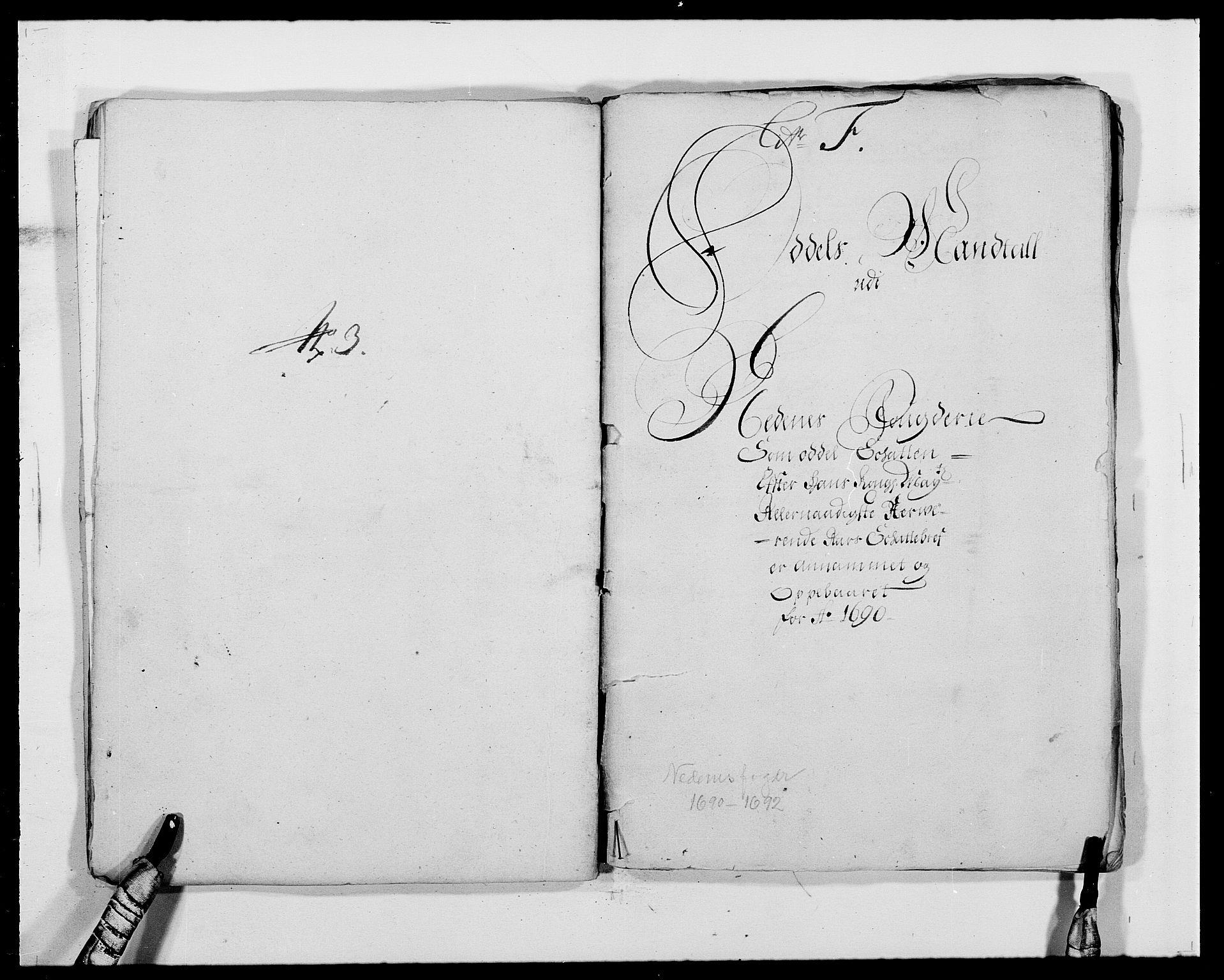 RA, Rentekammeret inntil 1814, Reviderte regnskaper, Fogderegnskap, R39/L2310: Fogderegnskap Nedenes, 1690-1692, s. 145