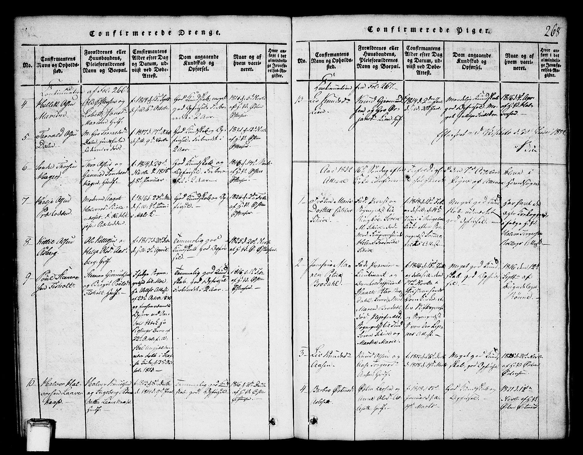 SAKO, Tinn kirkebøker, G/Ga/L0001: Klokkerbok nr. I 1, 1815-1850, s. 268