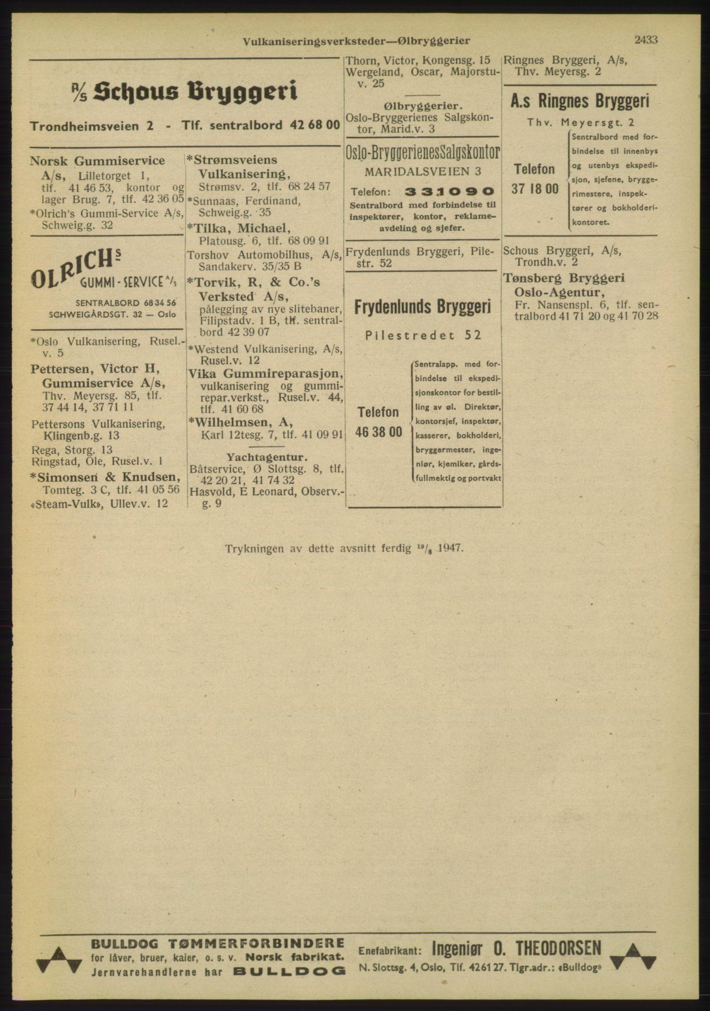 RA, Oslo adressebok (publikasjon)*, 1947, s. 2433