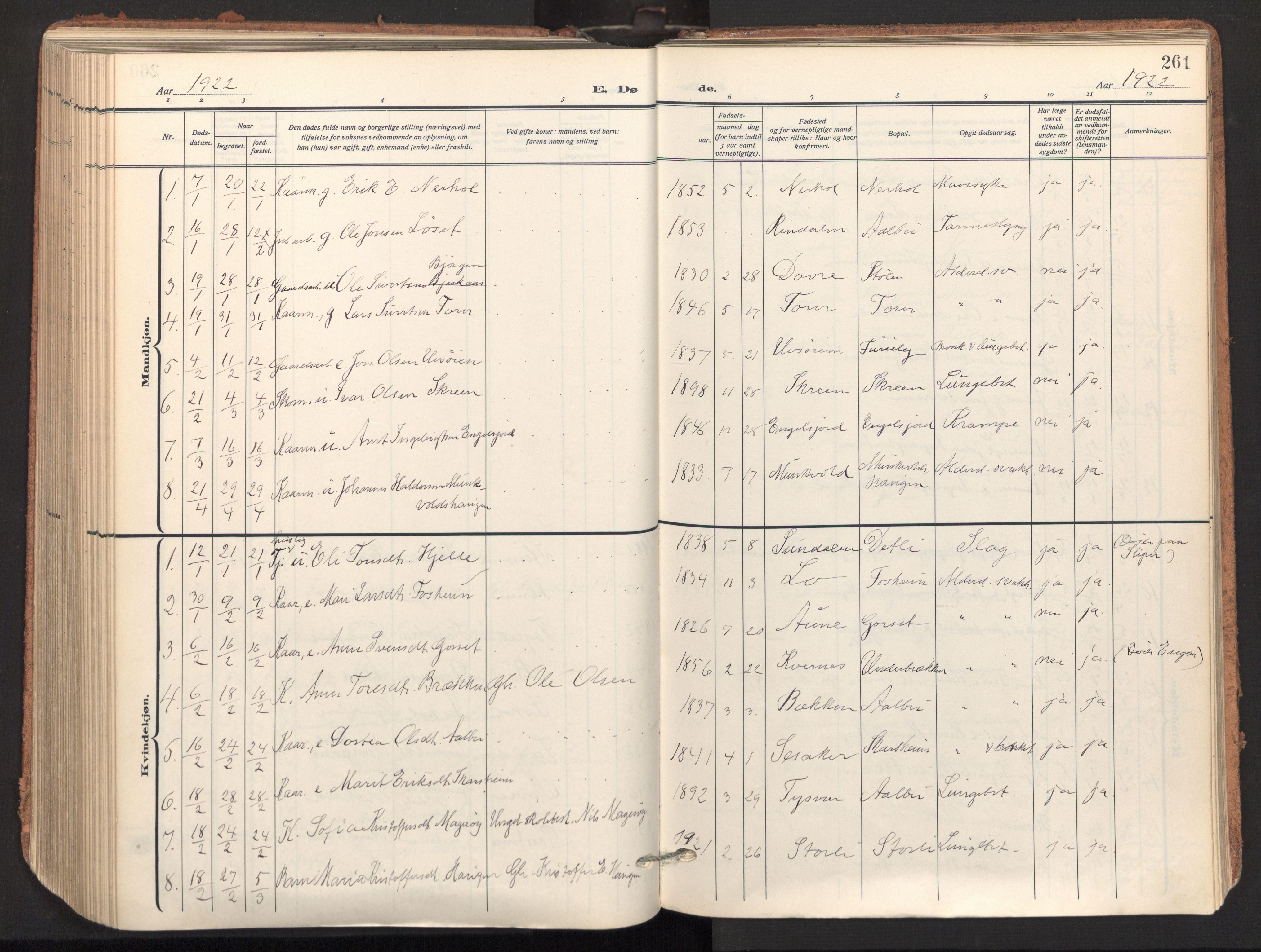 SAT, Ministerialprotokoller, klokkerbøker og fødselsregistre - Sør-Trøndelag, 678/L0909: Ministerialbok nr. 678A17, 1912-1930, s. 261