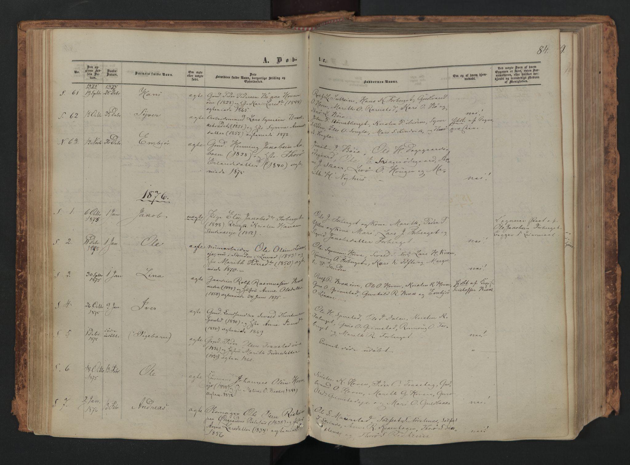 SAH, Skjåk prestekontor, Ministerialbok nr. 1, 1863-1879, s. 84