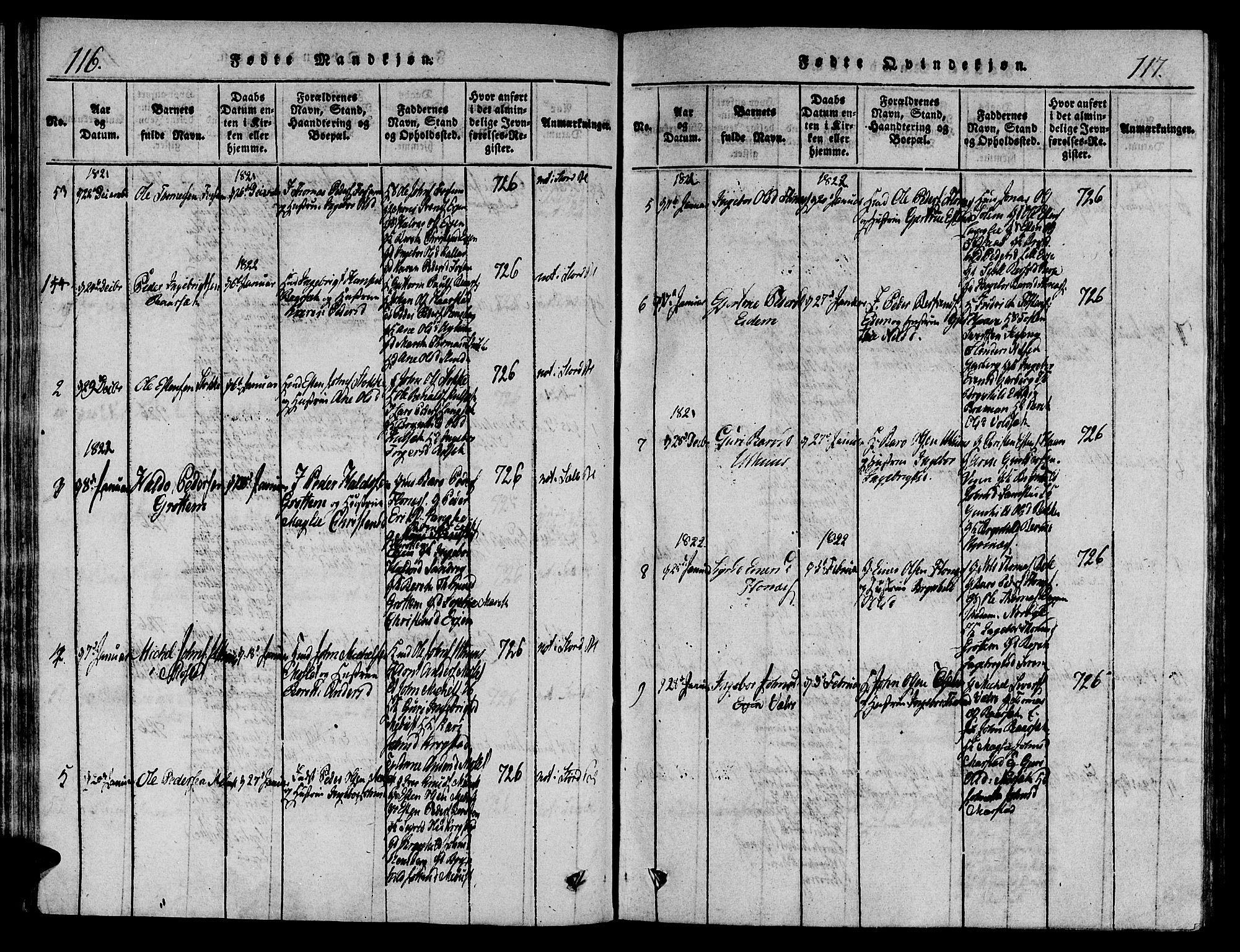 SAT, Ministerialprotokoller, klokkerbøker og fødselsregistre - Sør-Trøndelag, 695/L1141: Ministerialbok nr. 695A04 /1, 1816-1824, s. 116-117