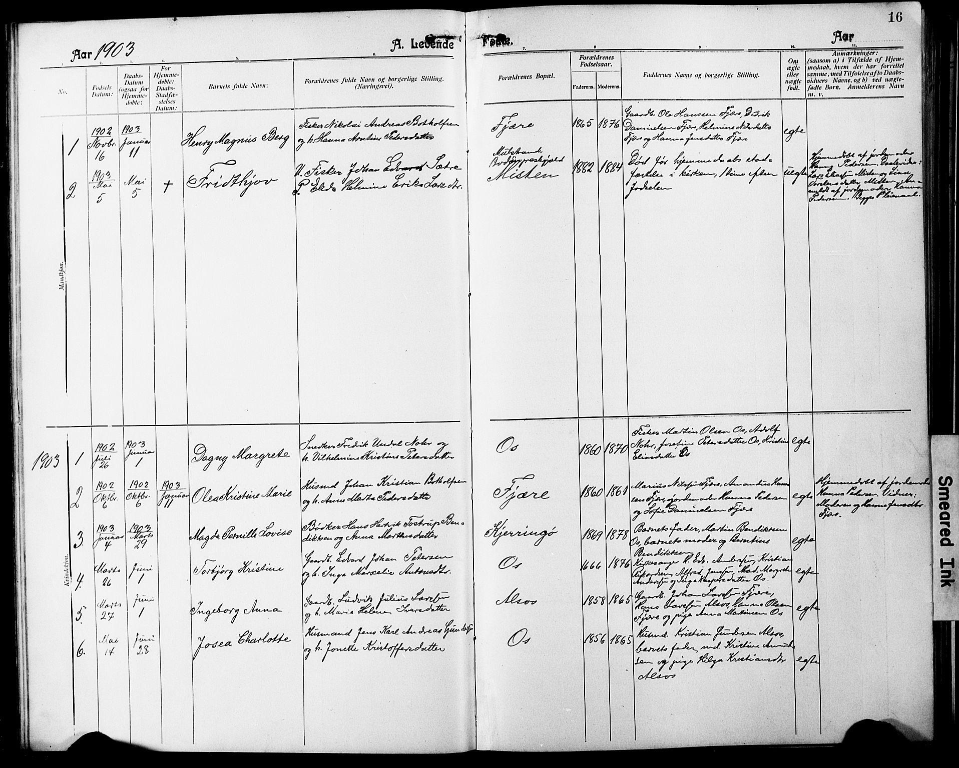 SAT, Ministerialprotokoller, klokkerbøker og fødselsregistre - Nordland, 803/L0077: Klokkerbok nr. 803C04, 1897-1930, s. 16