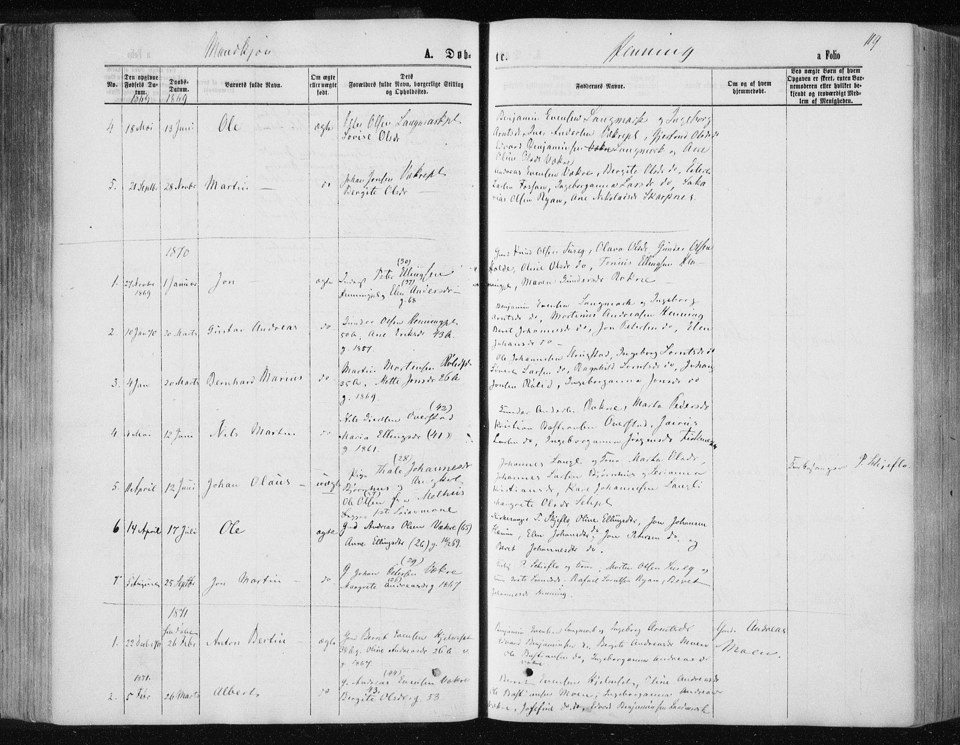 SAT, Ministerialprotokoller, klokkerbøker og fødselsregistre - Nord-Trøndelag, 735/L0345: Ministerialbok nr. 735A08 /3, 1863-1872, s. 119