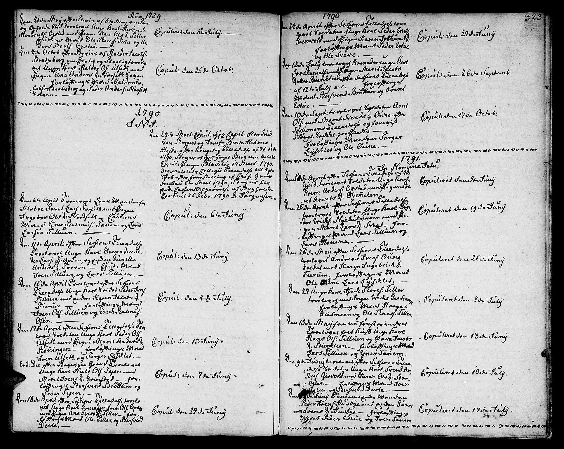 SAT, Ministerialprotokoller, klokkerbøker og fødselsregistre - Sør-Trøndelag, 618/L0438: Ministerialbok nr. 618A03, 1783-1815, s. 323