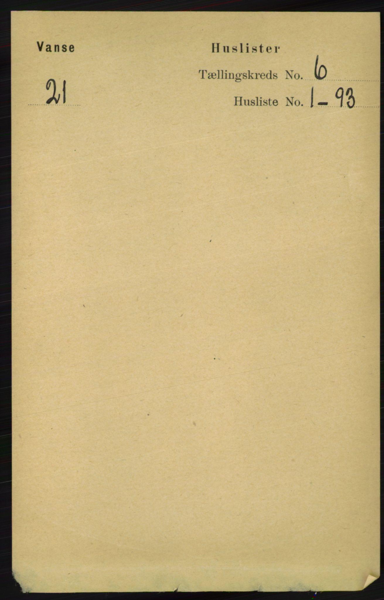 RA, Folketelling 1891 for 1041 Vanse herred, 1891, s. 3398