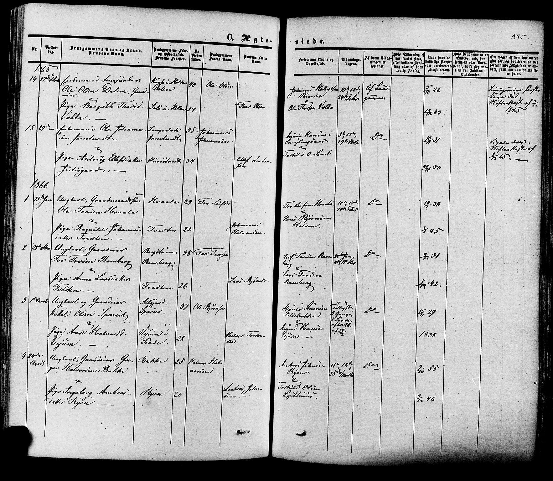 SAKO, Heddal kirkebøker, F/Fa/L0007: Ministerialbok nr. I 7, 1855-1877, s. 335