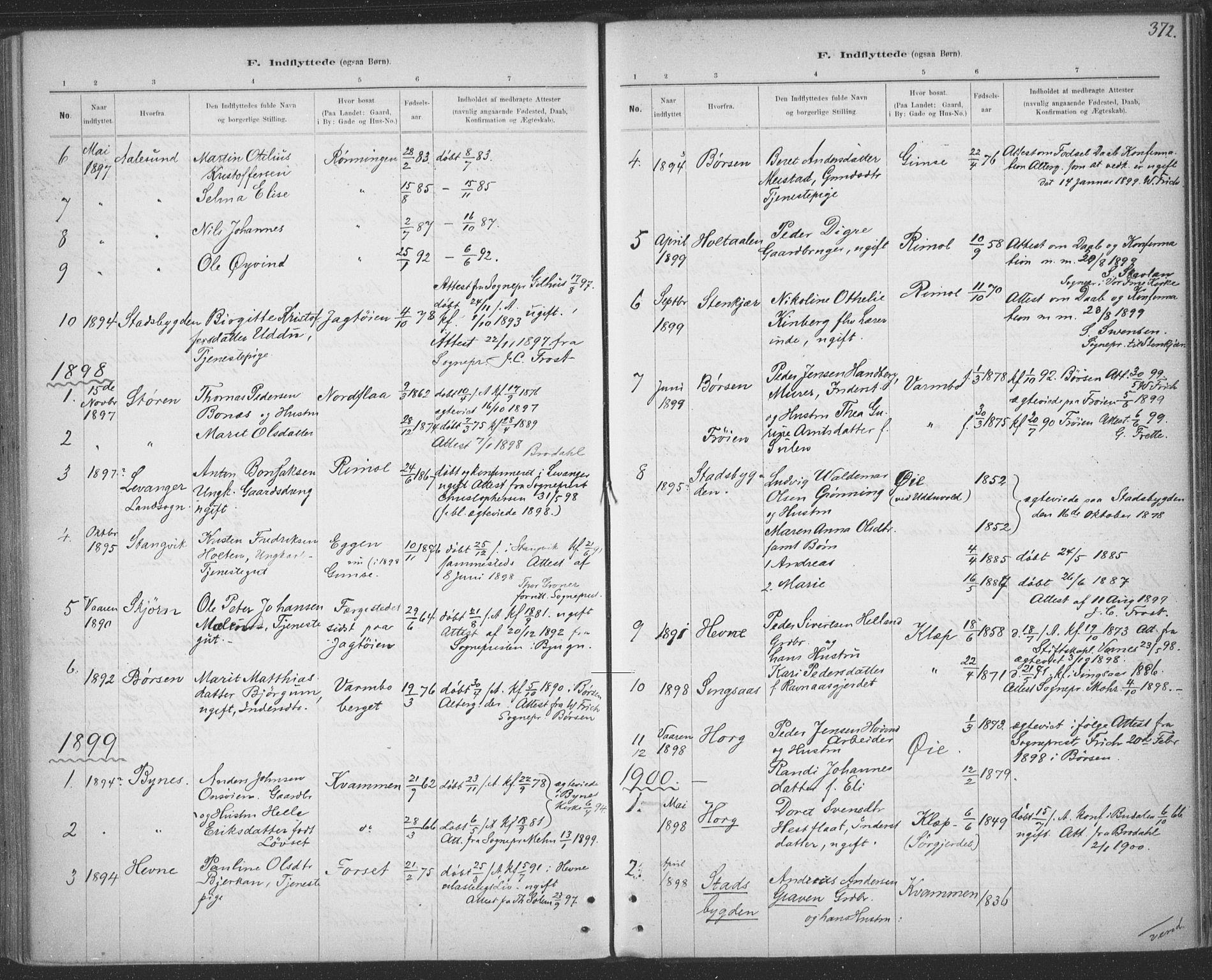 SAT, Ministerialprotokoller, klokkerbøker og fødselsregistre - Sør-Trøndelag, 691/L1085: Ministerialbok nr. 691A17, 1887-1908, s. 372