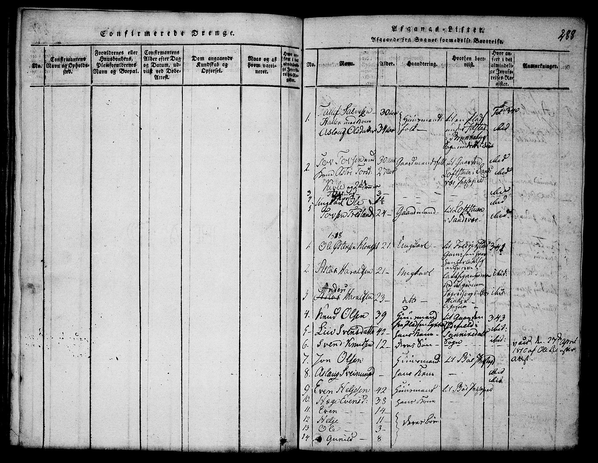 SAKO, Seljord kirkebøker, F/Fa/L0010: Ministerialbok nr. I 10, 1815-1831, s. 288