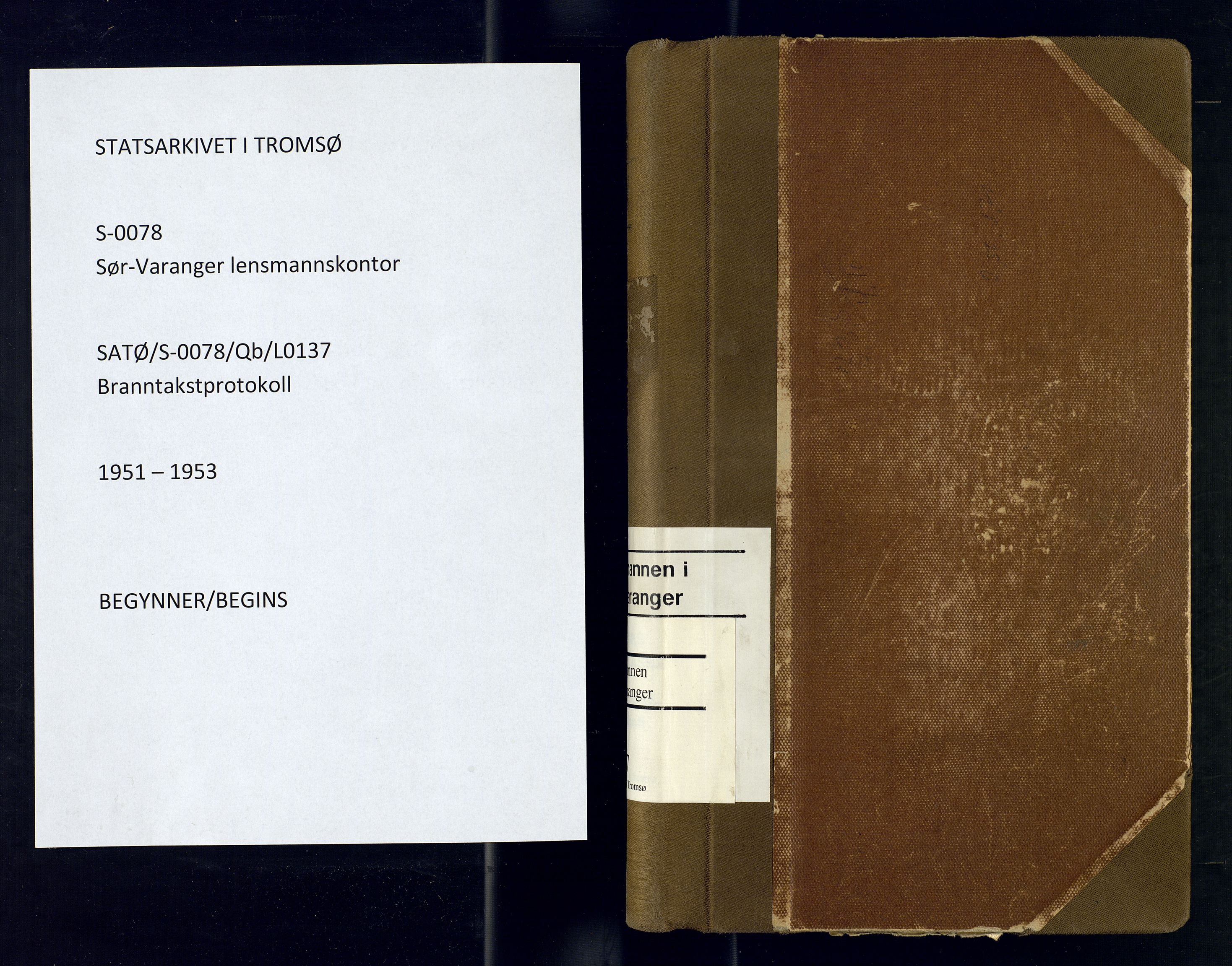 SATØ, Sør-Varanger lensmannskontor, Qb/L0137: Branntakstprotokoller Med reg., 1951-1953