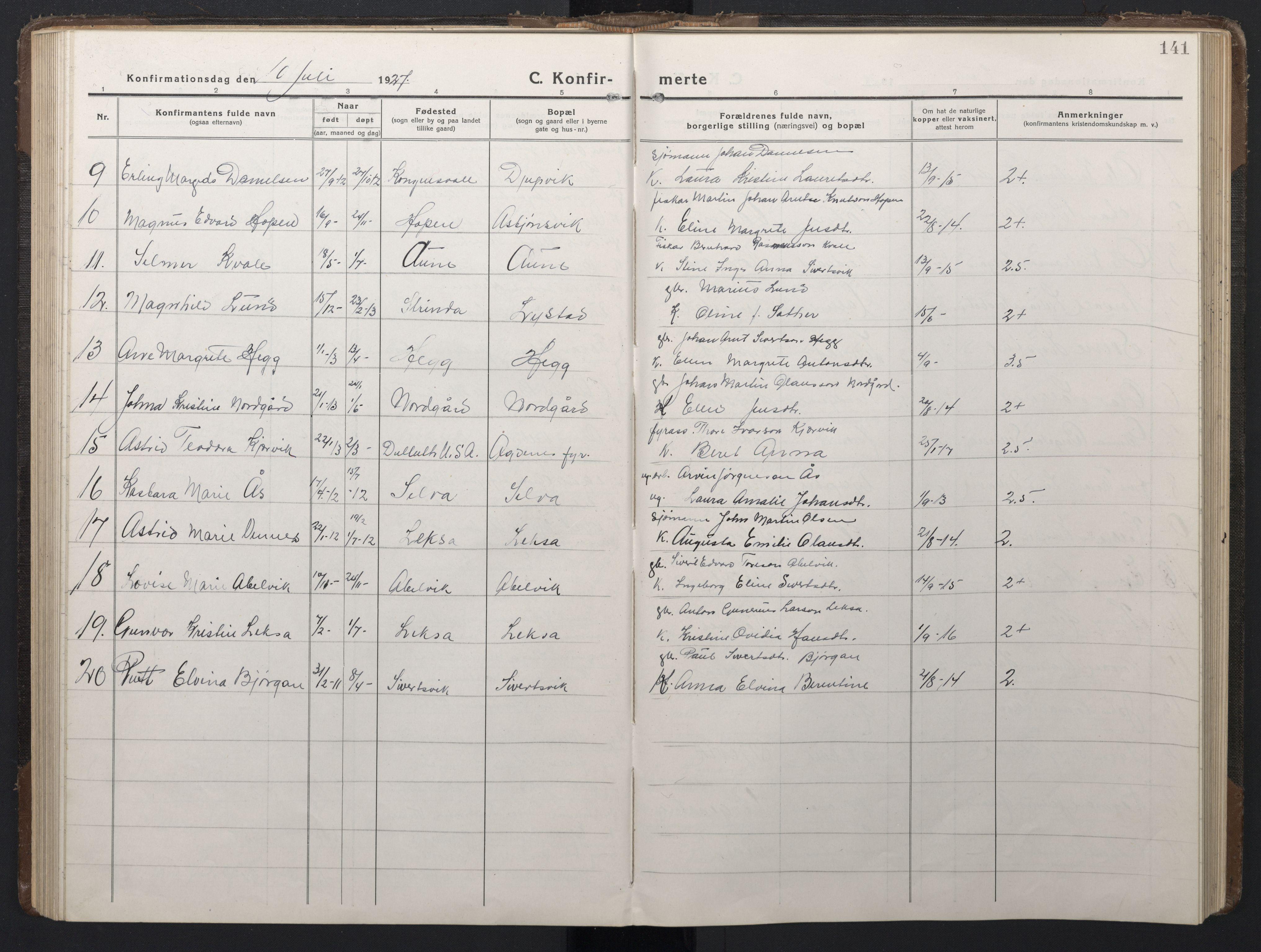 SAT, Ministerialprotokoller, klokkerbøker og fødselsregistre - Sør-Trøndelag, 662/L0758: Klokkerbok nr. 662C03, 1918-1948, s. 141