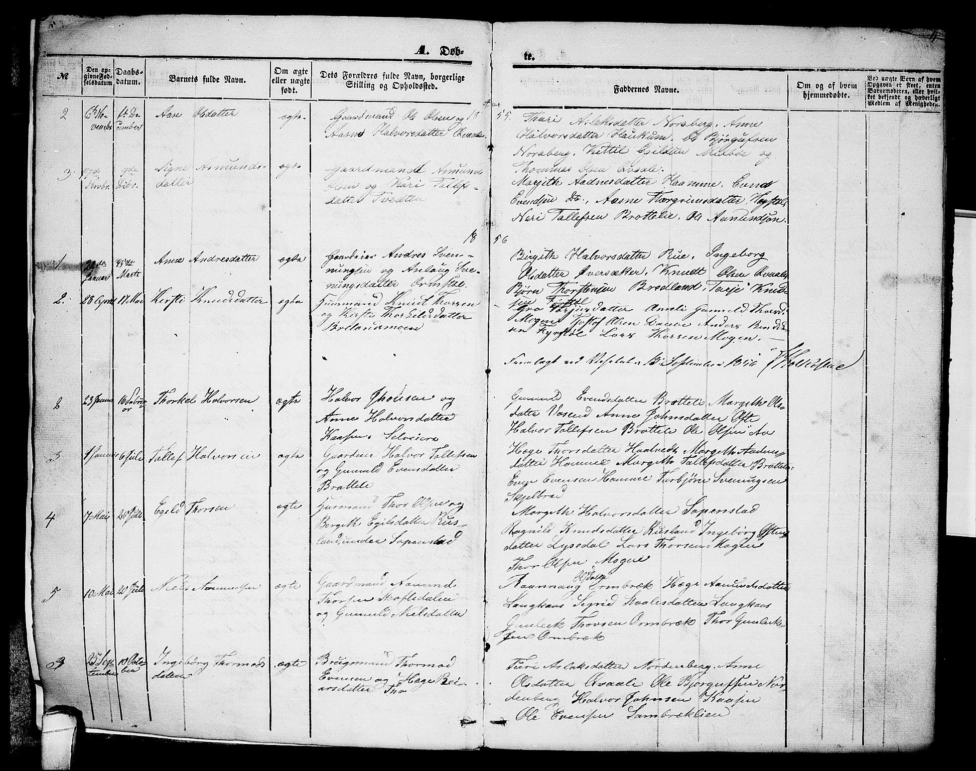 SAKO, Lårdal kirkebøker, G/Gc/L0002: Klokkerbok nr. III 2, 1852-1877, s. 4