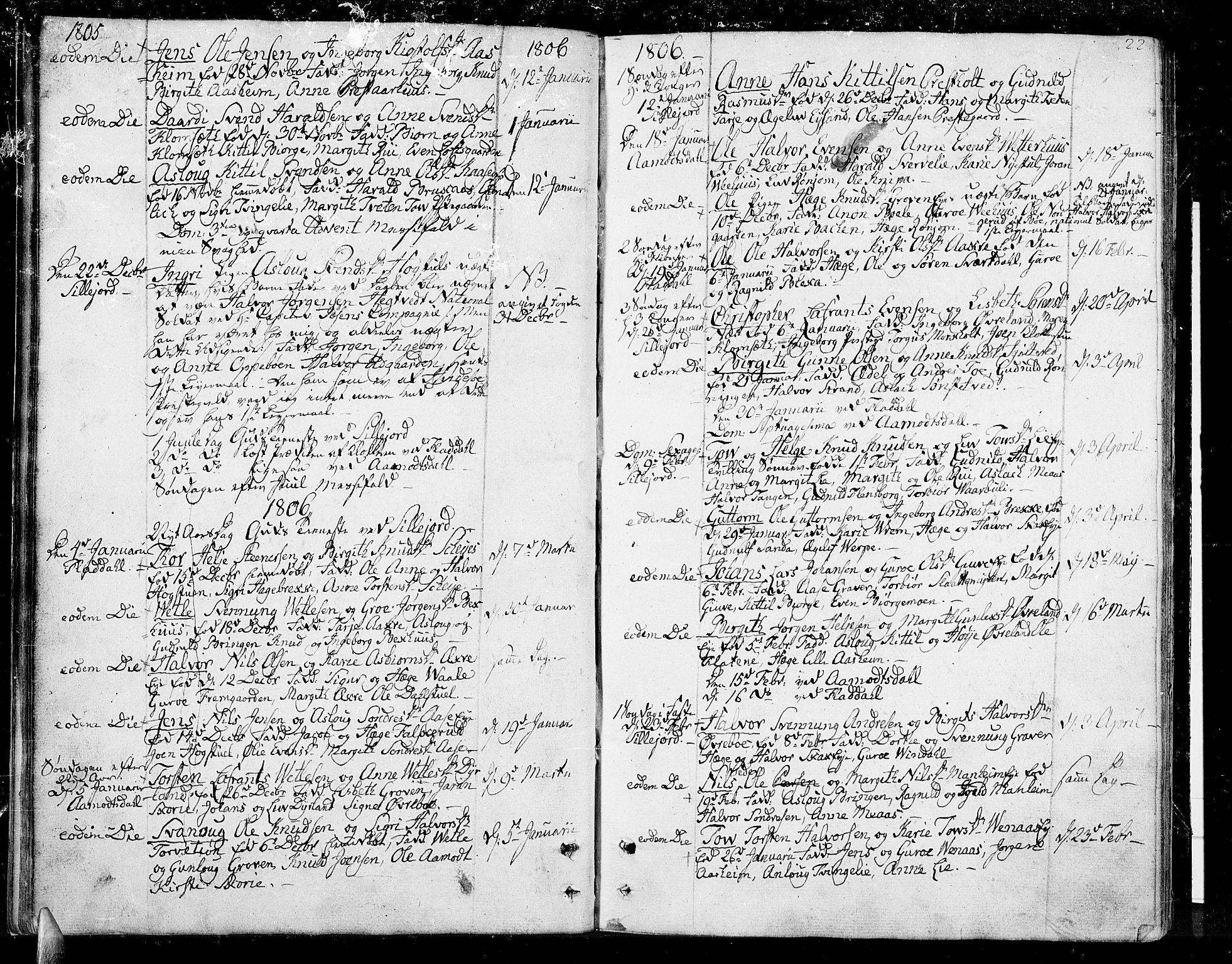 SAKO, Seljord kirkebøker, F/Fa/L0009: Ministerialbok nr. I 9, 1801-1814, s. 22