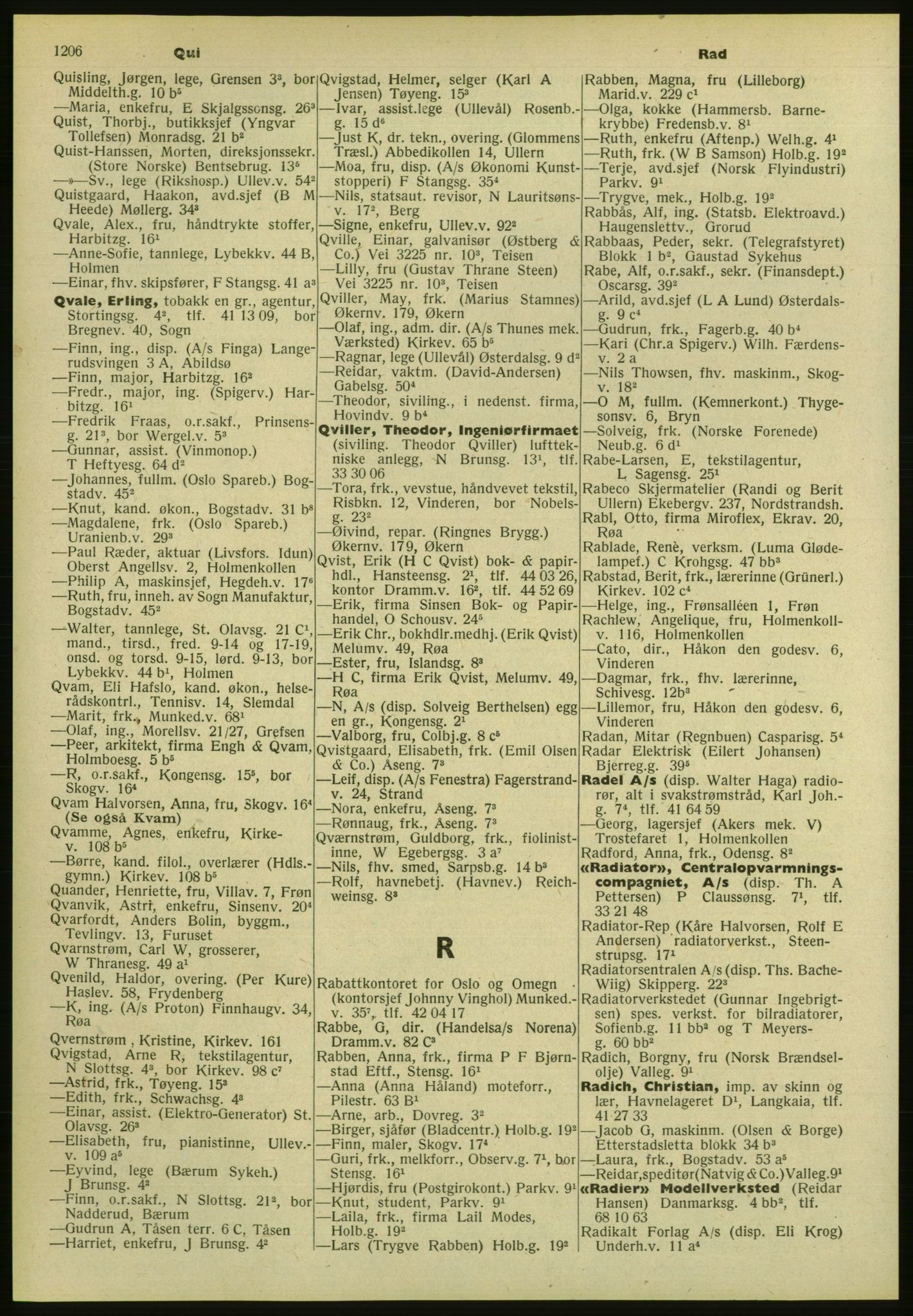 PUBL, Kristiania/Oslo adressebok, 1952, s. 1206