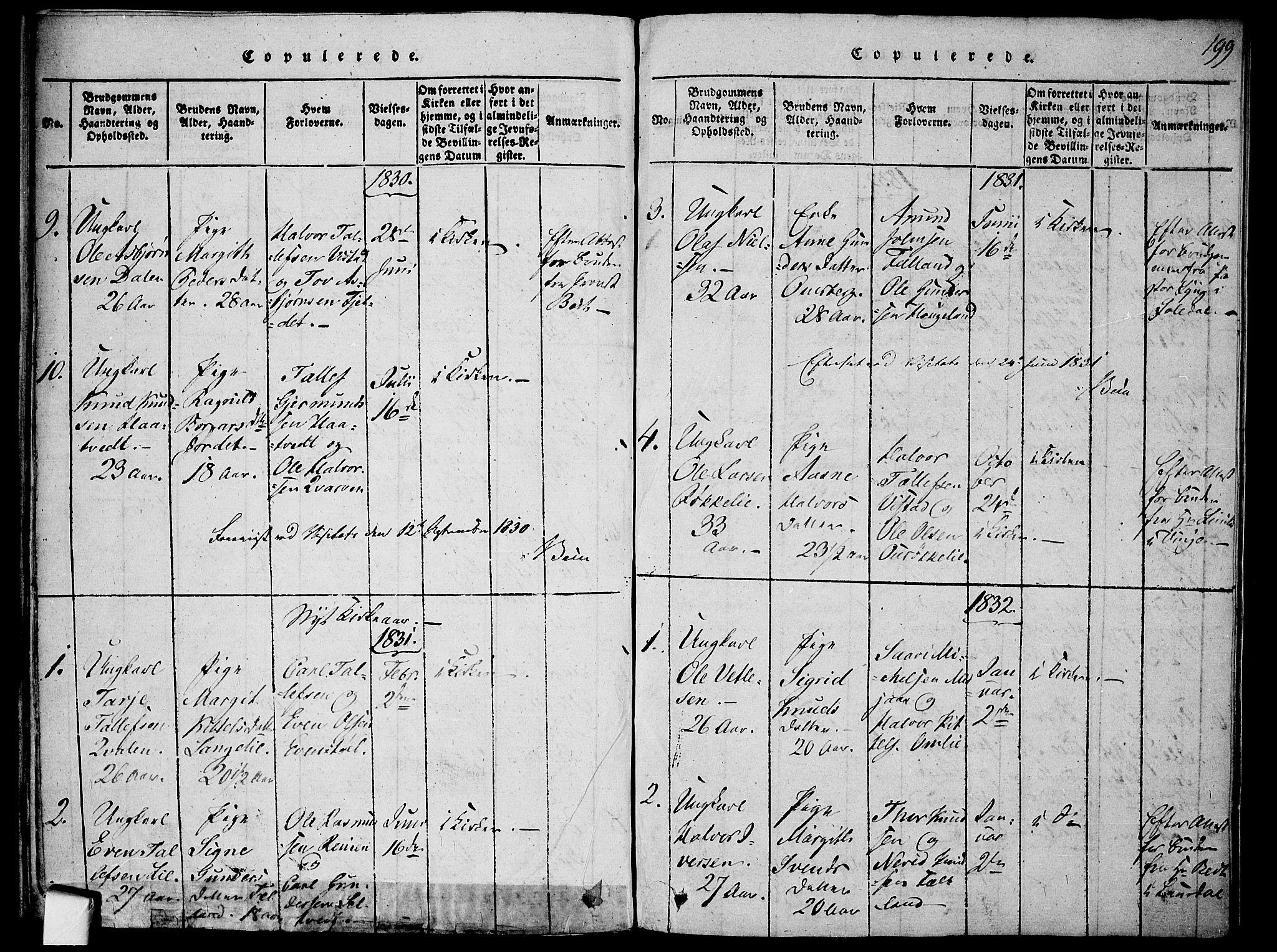 SAKO, Mo kirkebøker, F/Fa/L0004: Ministerialbok nr. I 4, 1814-1844, s. 199