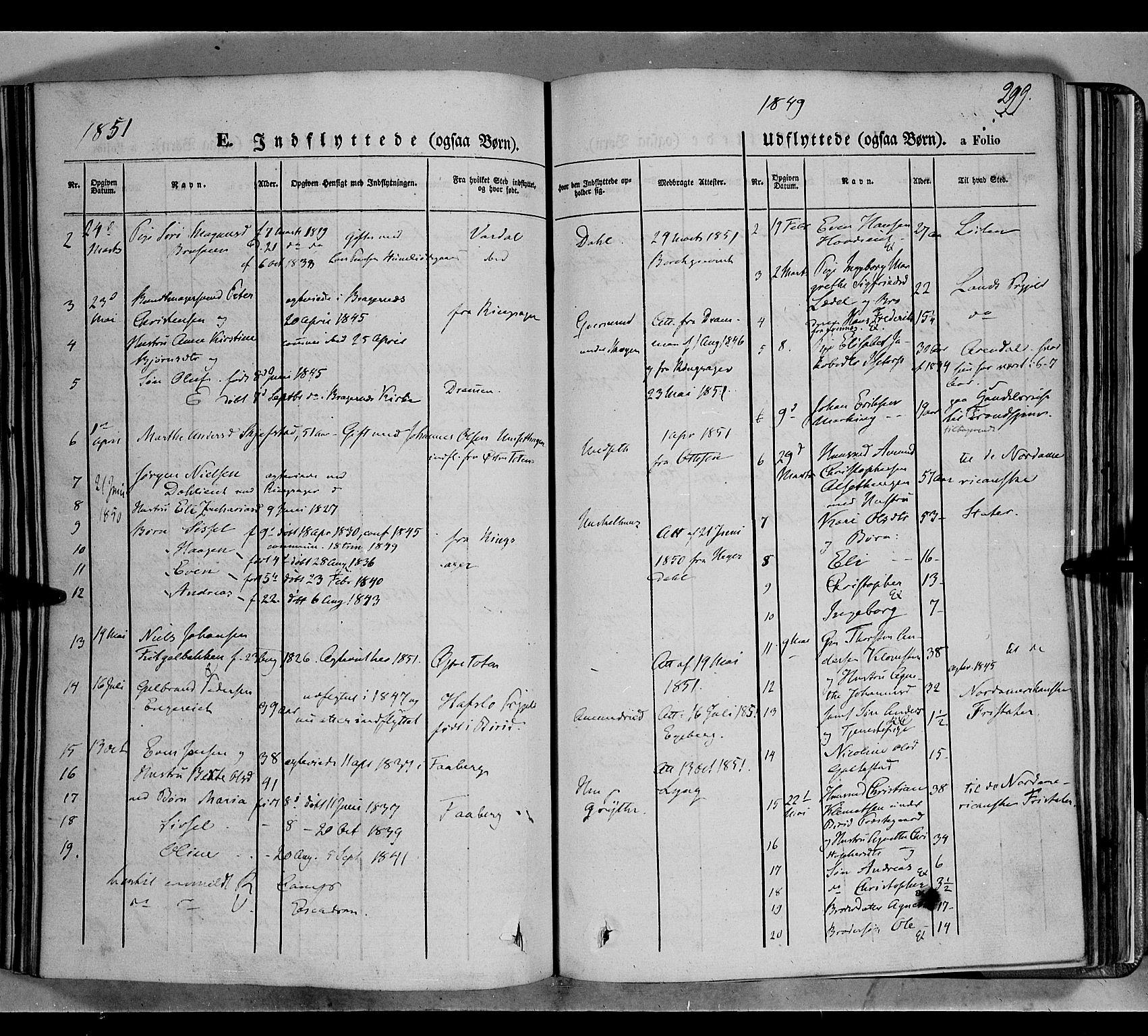 SAH, Biri prestekontor, Ministerialbok nr. 5, 1843-1854, s. 299