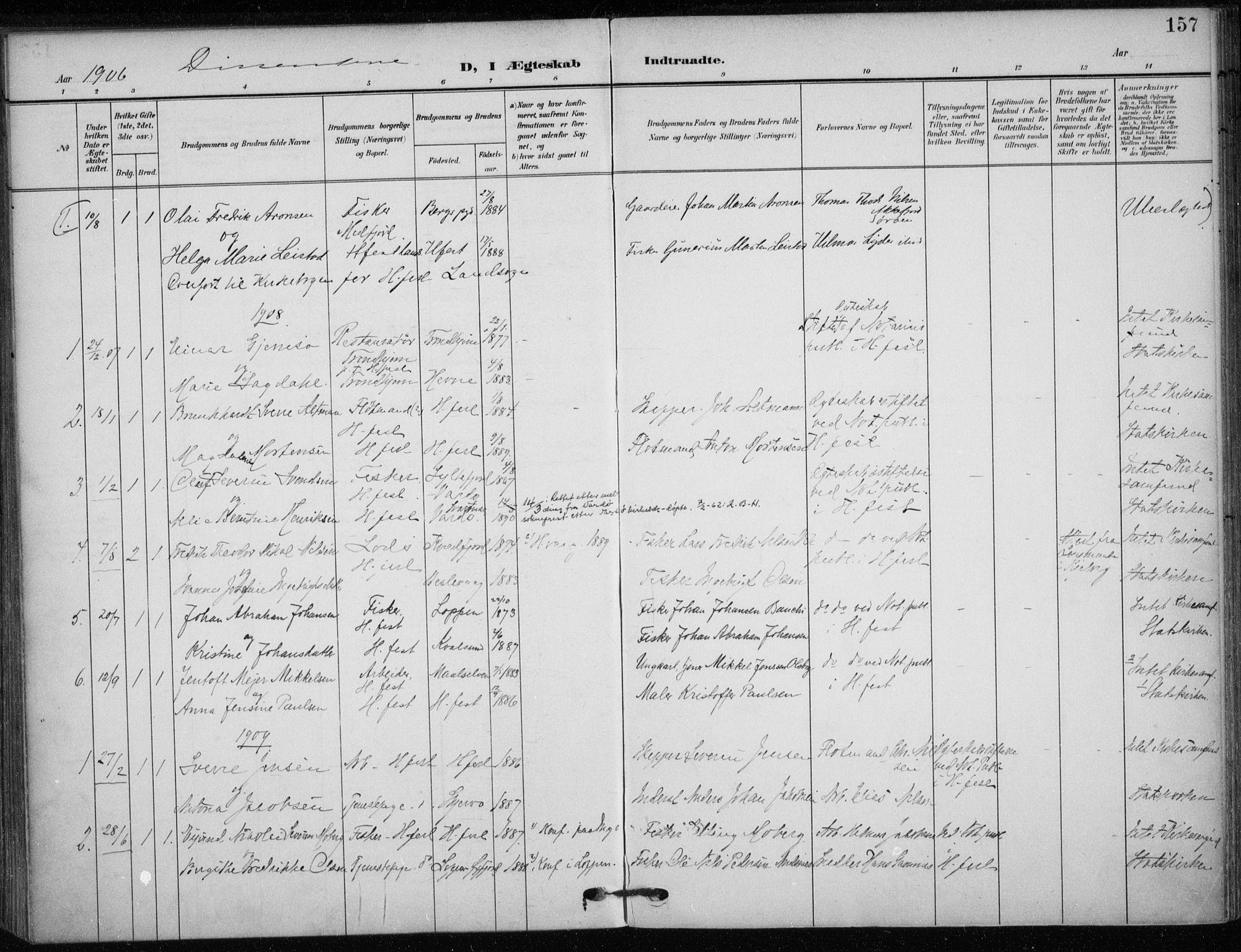 SATØ, Hammerfest sokneprestkontor, H/Ha/L0014.kirke: Ministerialbok nr. 14, 1906-1916, s. 157