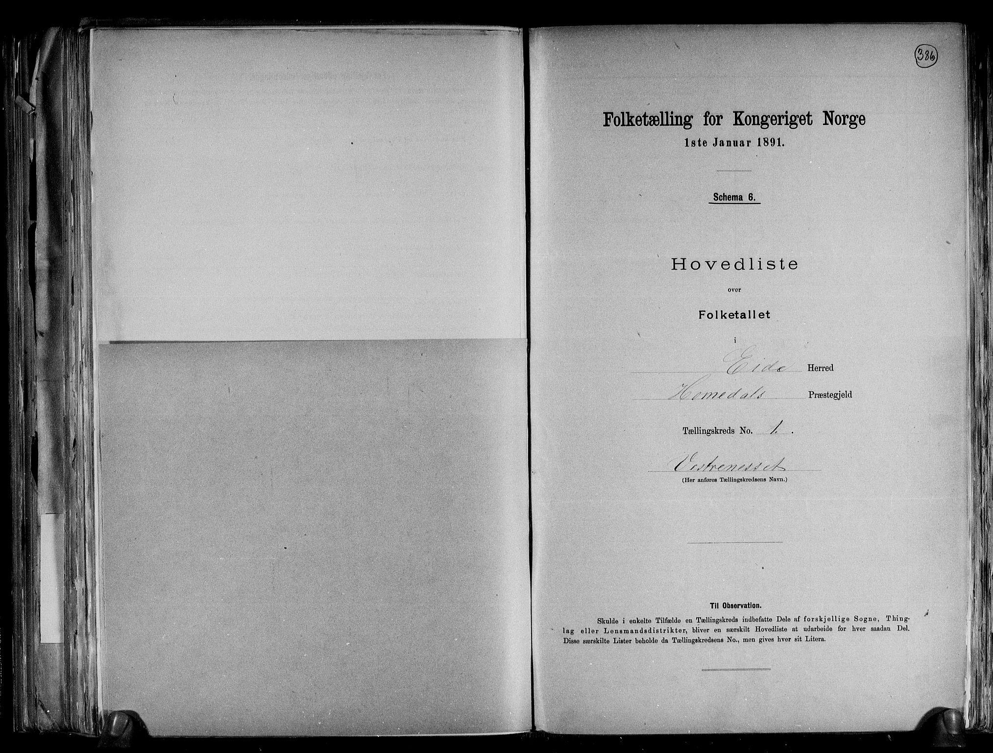RA, Folketelling 1891 for 0925 Eide herred, 1891, s. 5