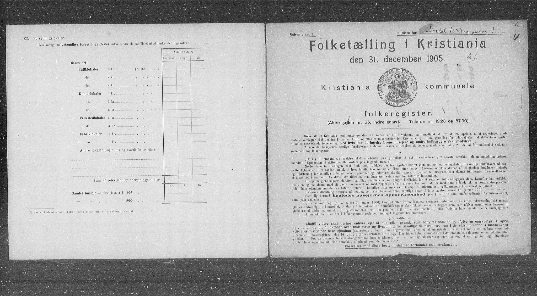 OBA, Kommunal folketelling 1905 for Kristiania kjøpstad, 1905, s. 37582