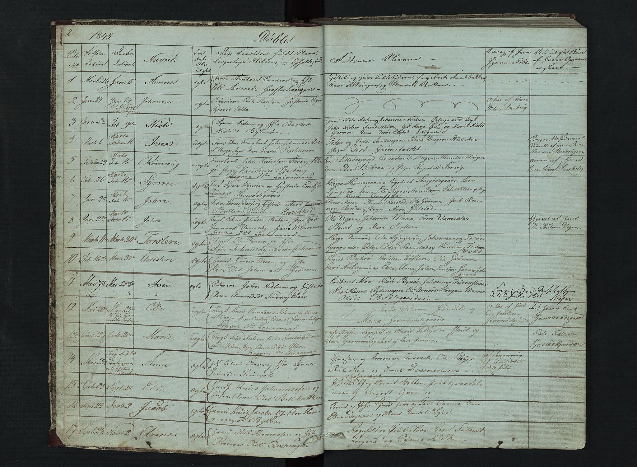 SAH, Lom prestekontor, L/L0014: Klokkerbok nr. 14, 1845-1876, s. 2-3