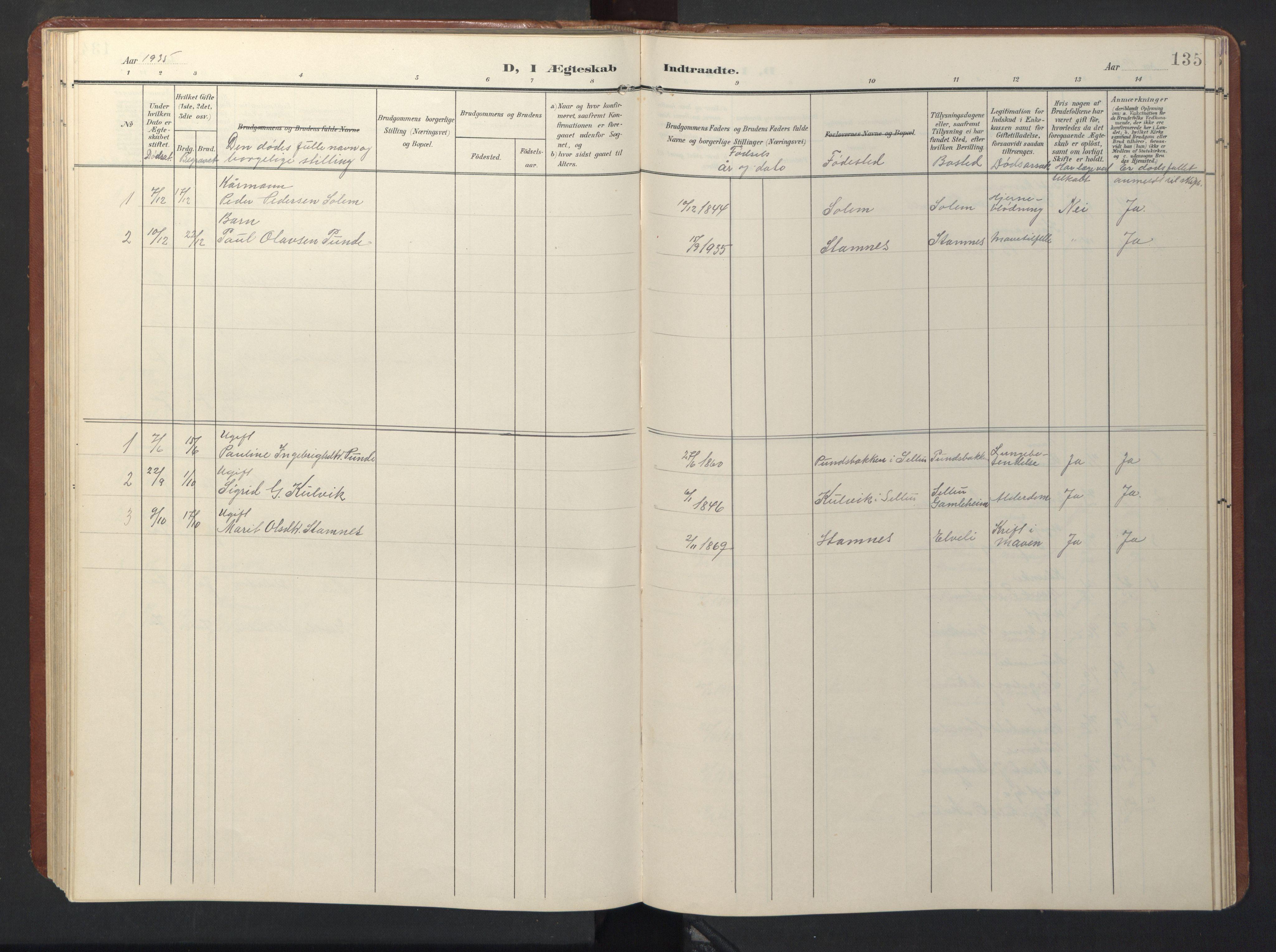 SAT, Ministerialprotokoller, klokkerbøker og fødselsregistre - Sør-Trøndelag, 696/L1161: Klokkerbok nr. 696C01, 1902-1950, s. 135
