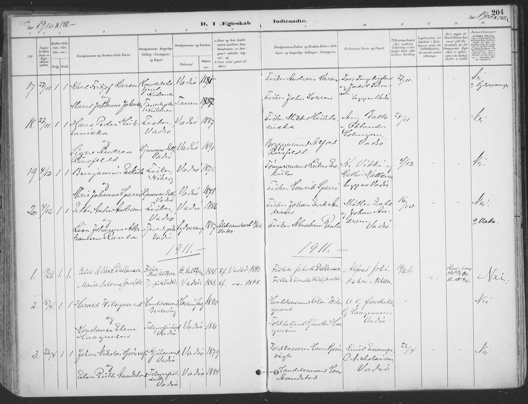 SATØ, Vadsø sokneprestkontor, H/Ha/L0007kirke: Ministerialbok nr. 7, 1896-1916, s. 204