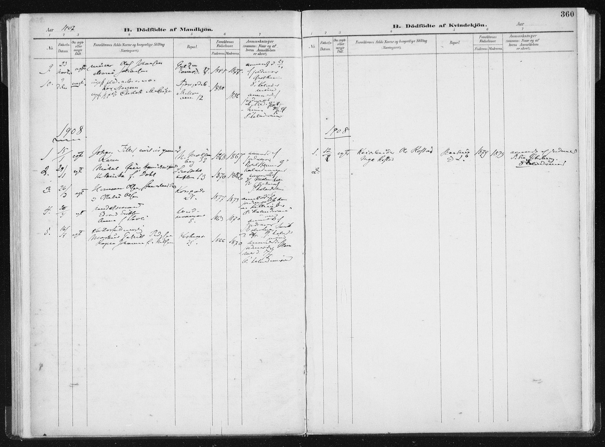 SAT, Ministerialprotokoller, klokkerbøker og fødselsregistre - Sør-Trøndelag, 604/L0200: Ministerialbok nr. 604A20II, 1901-1908, s. 360