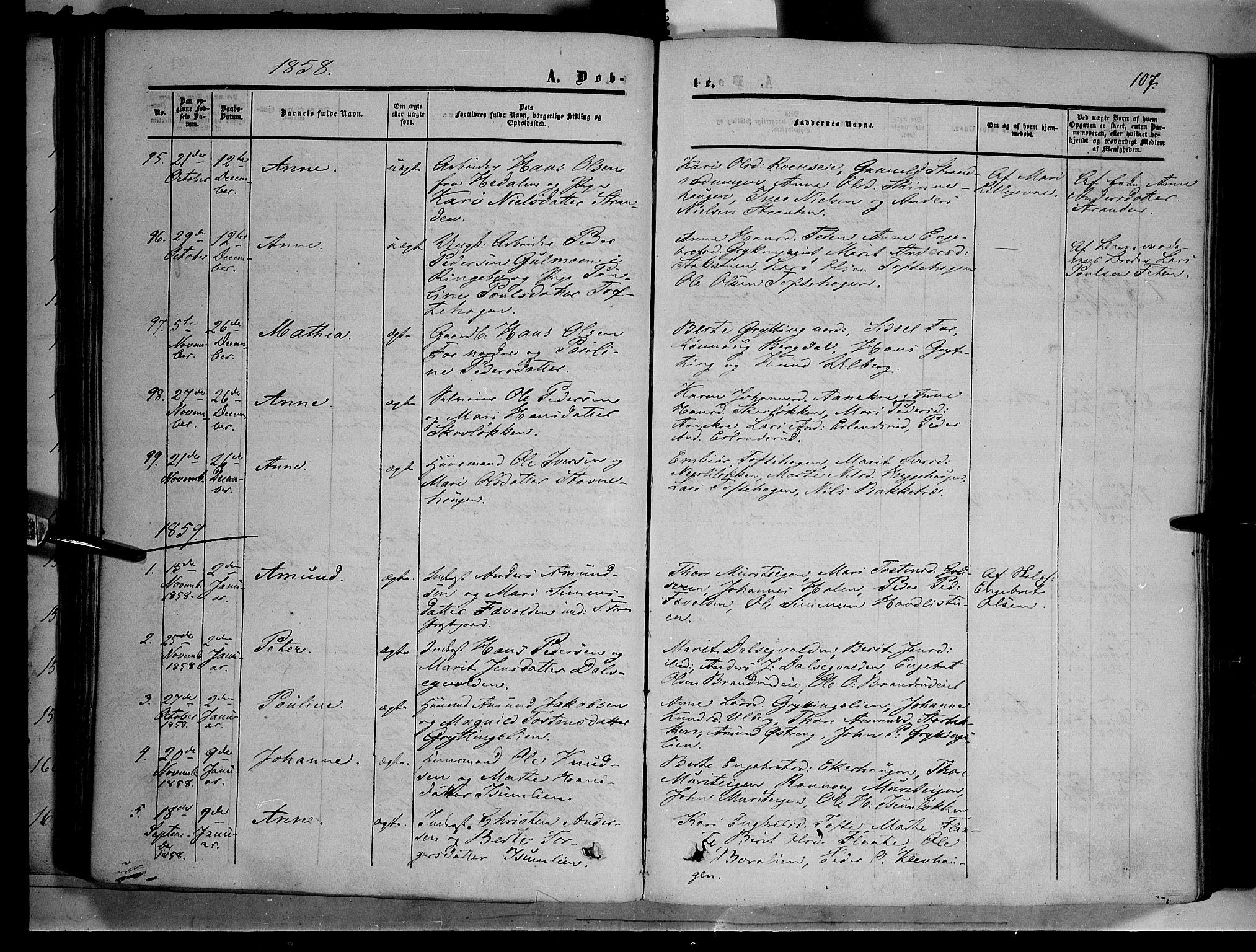 SAH, Sør-Fron prestekontor, H/Ha/Haa/L0001: Ministerialbok nr. 1, 1849-1863, s. 107