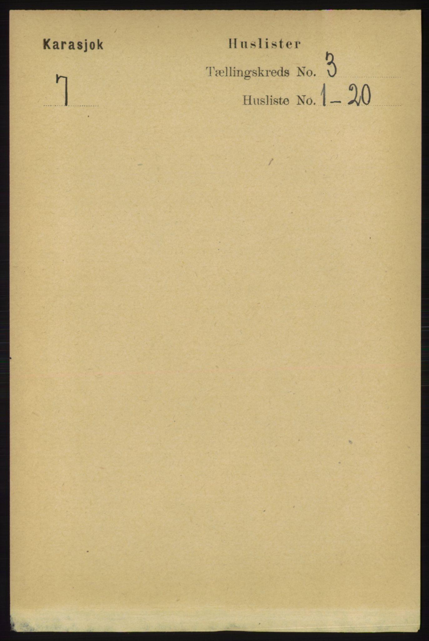 RA, Folketelling 1891 for 2021 Karasjok herred, 1891, s. 531