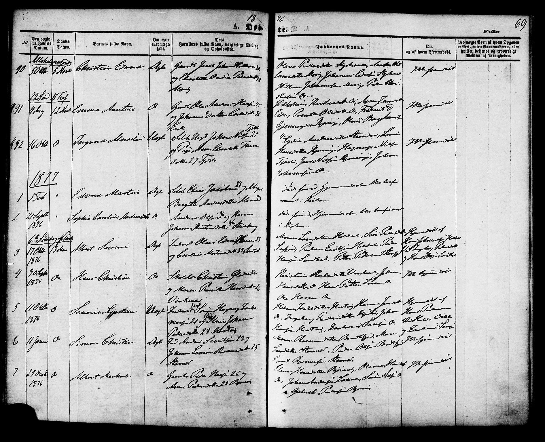 SAT, Ministerialprotokoller, klokkerbøker og fødselsregistre - Nordland, 853/L0771: Ministerialbok nr. 853A10, 1870-1881, s. 69