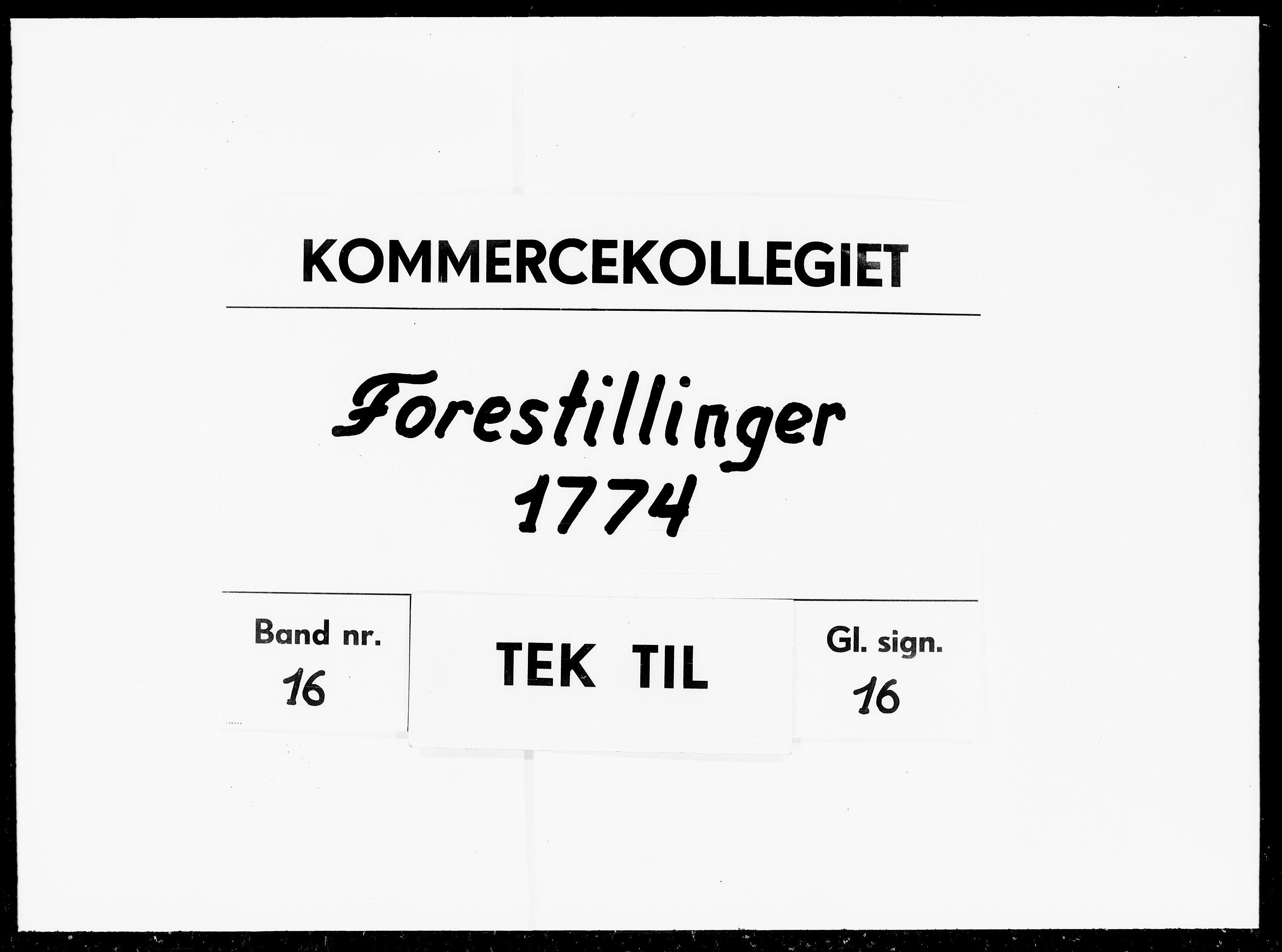 DRA, Kommercekollegiet, Danske Sekretariat, -/431: Forestillinger, 1774