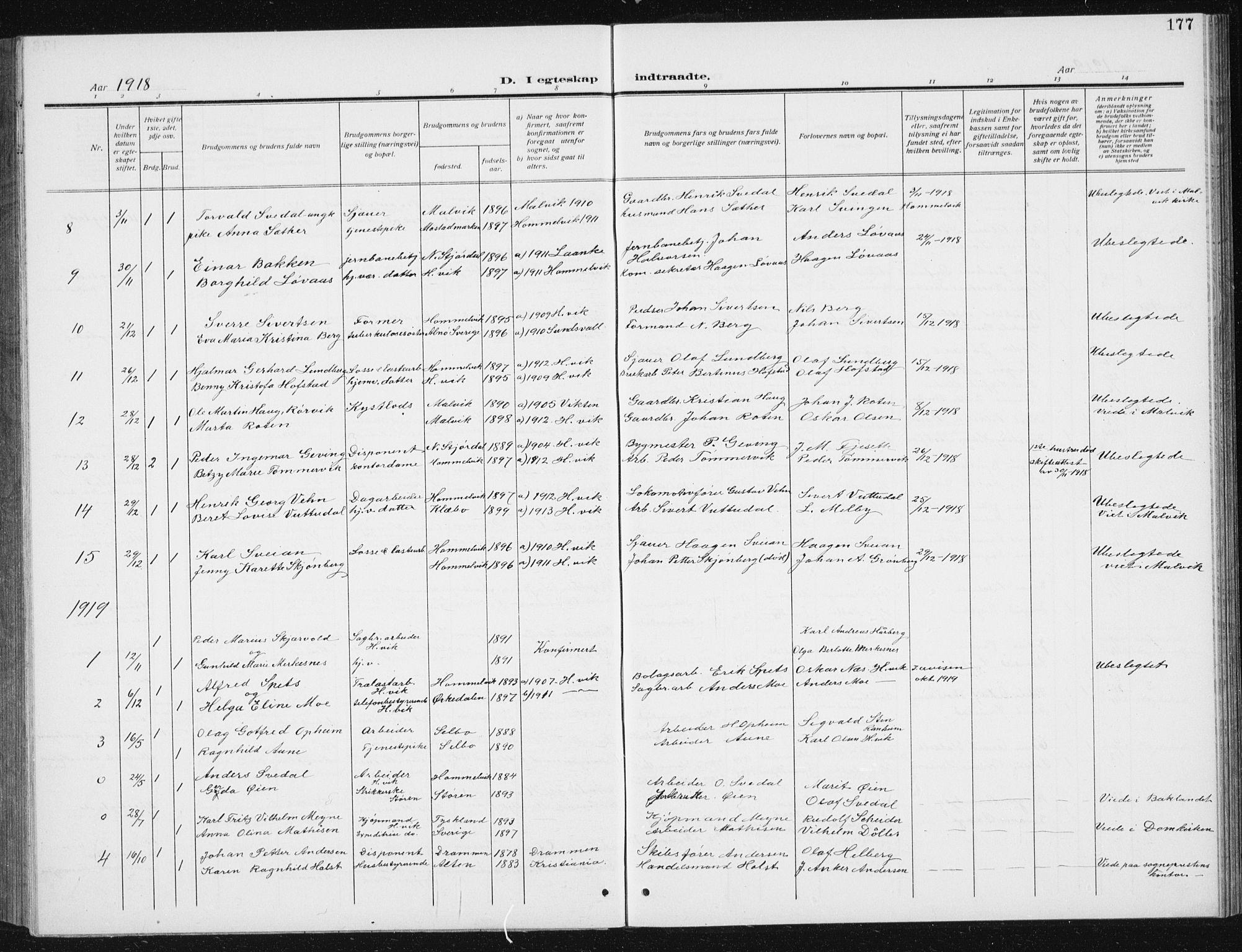 SAT, Ministerialprotokoller, klokkerbøker og fødselsregistre - Sør-Trøndelag, 617/L0431: Klokkerbok nr. 617C02, 1910-1936, s. 177