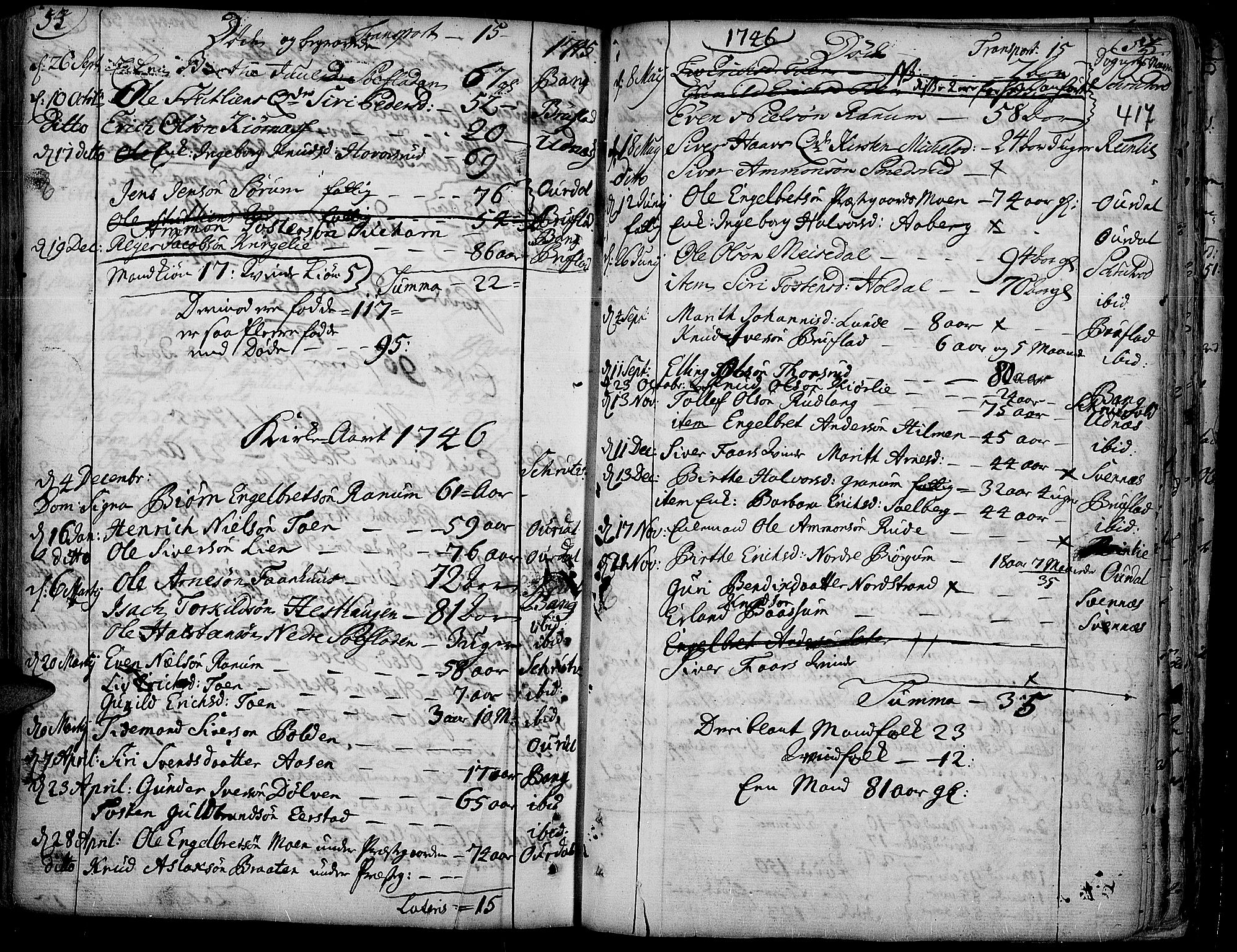 SAH, Aurdal prestekontor, Ministerialbok nr. 4, 1730-1762, s. 54-55