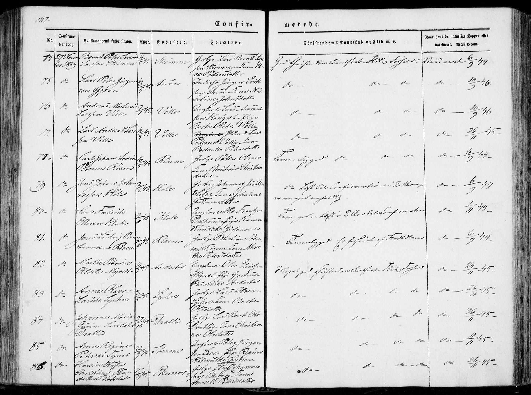 SAT, Ministerialprotokoller, klokkerbøker og fødselsregistre - Møre og Romsdal, 522/L0313: Ministerialbok nr. 522A08, 1852-1862, s. 127