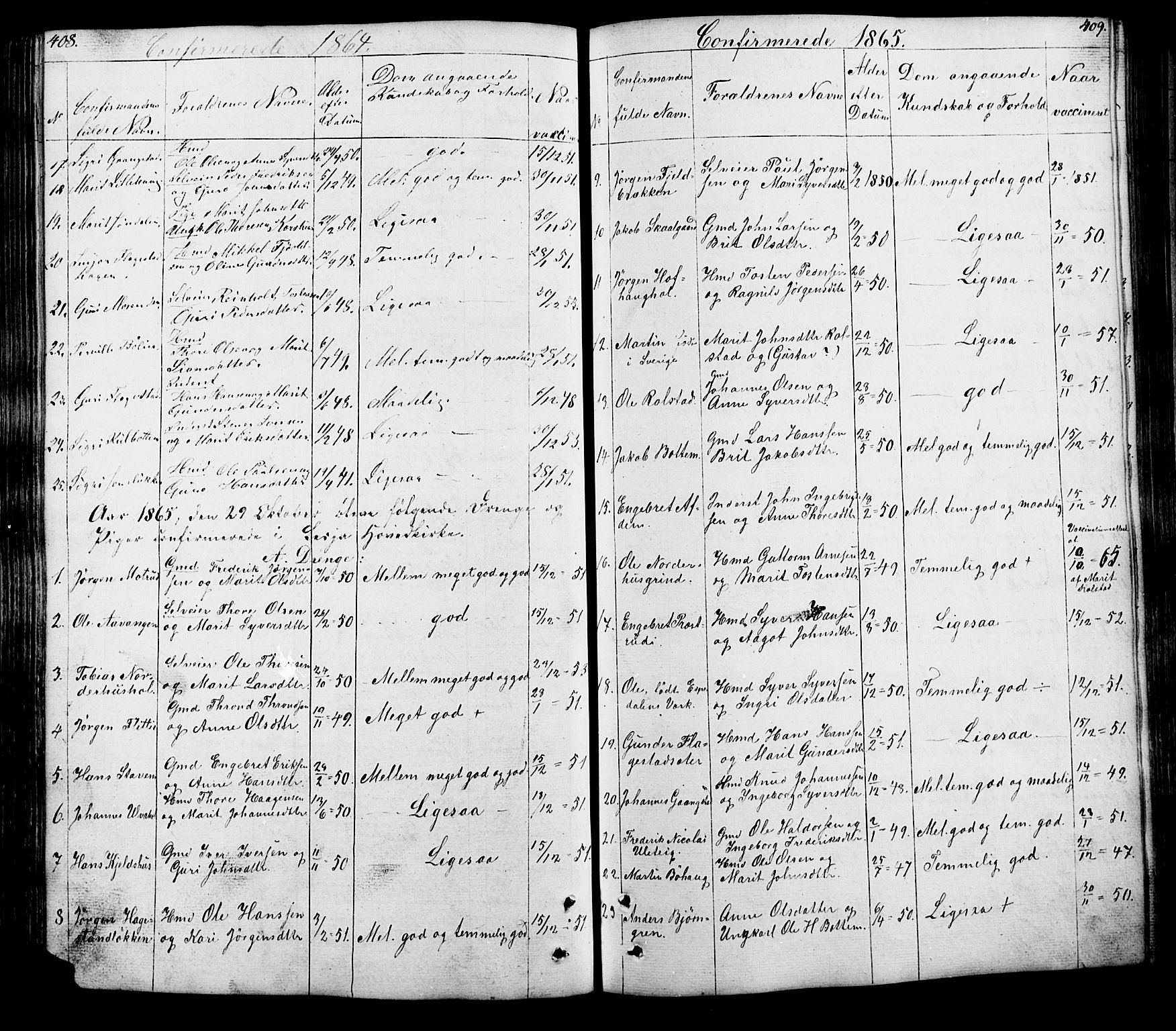 SAH, Lesja prestekontor, Klokkerbok nr. 5, 1850-1894, s. 408-409