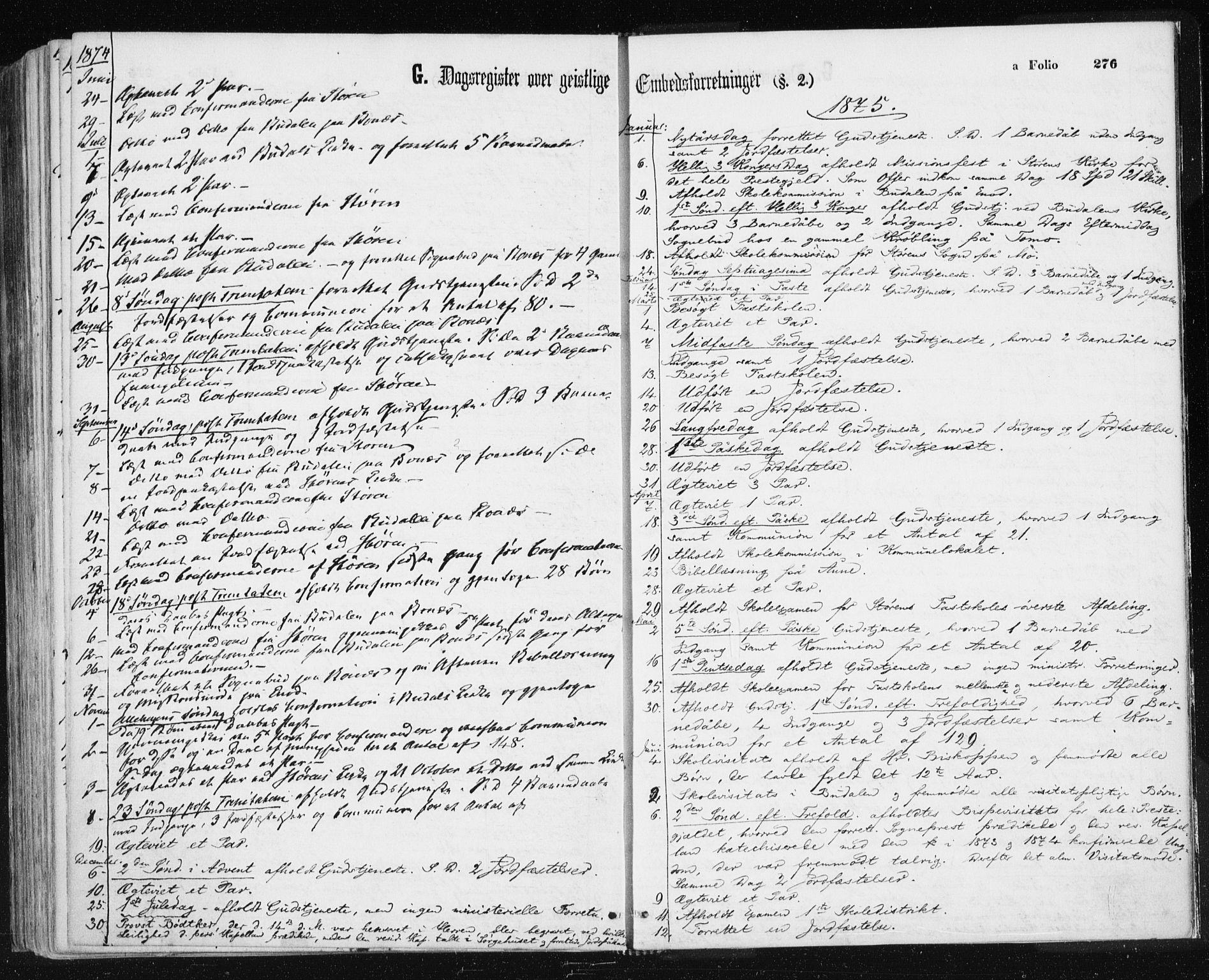 SAT, Ministerialprotokoller, klokkerbøker og fødselsregistre - Sør-Trøndelag, 687/L1001: Ministerialbok nr. 687A07, 1863-1878, s. 276