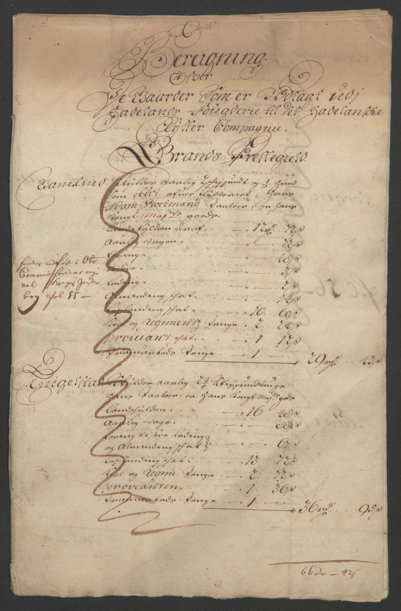 RA, Rentekammeret inntil 1814, Reviderte regnskaper, Fogderegnskap, R18/L1290: Fogderegnskap Hadeland, Toten og Valdres, 1691, s. 222