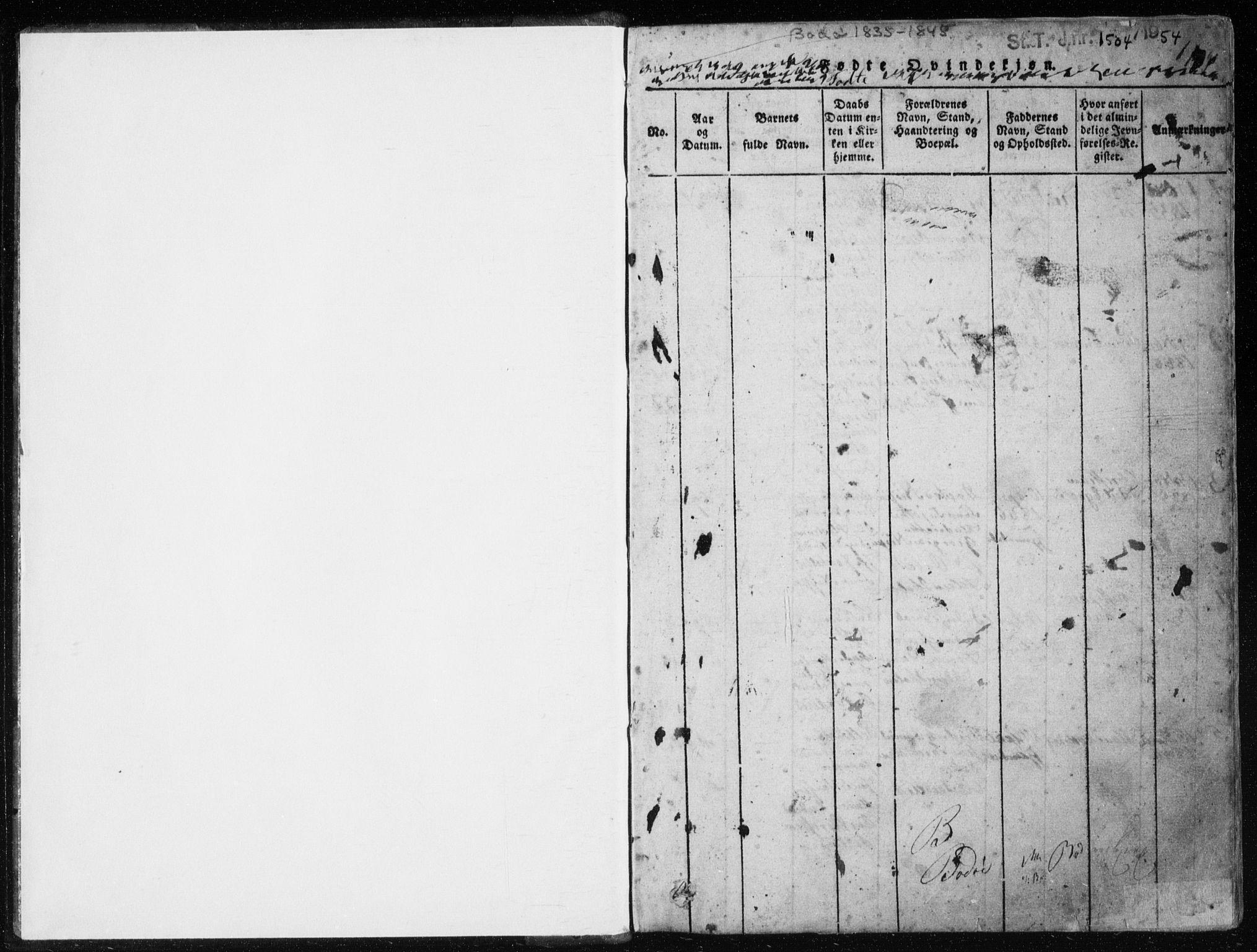 SAT, Ministerialprotokoller, klokkerbøker og fødselsregistre - Nordland, 801/L0027: Klokkerbok nr. 801C02, 1835-1845, s. 0-1