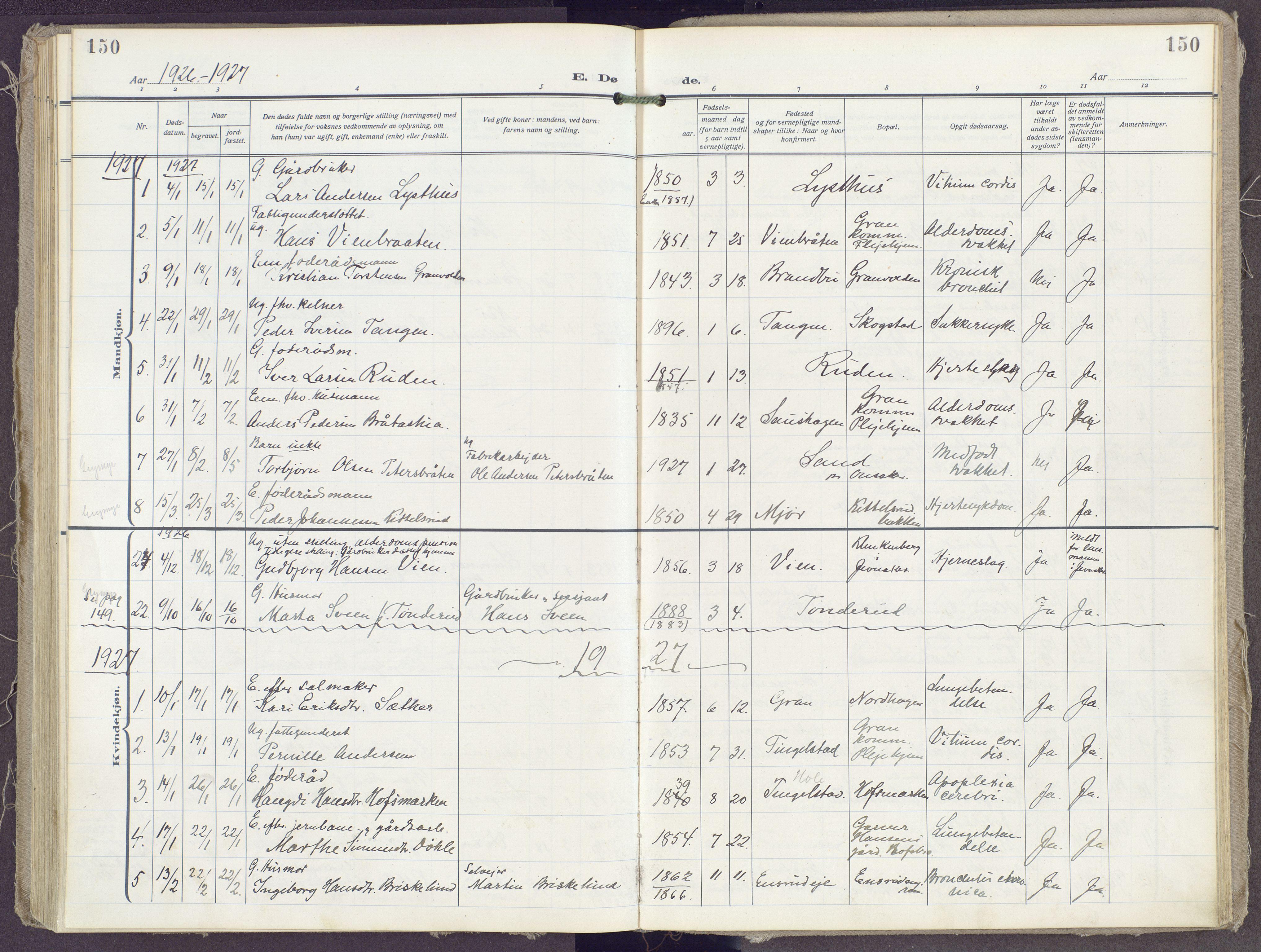 SAH, Gran prestekontor, Ministerialbok nr. 23, 1919-1938, s. 150