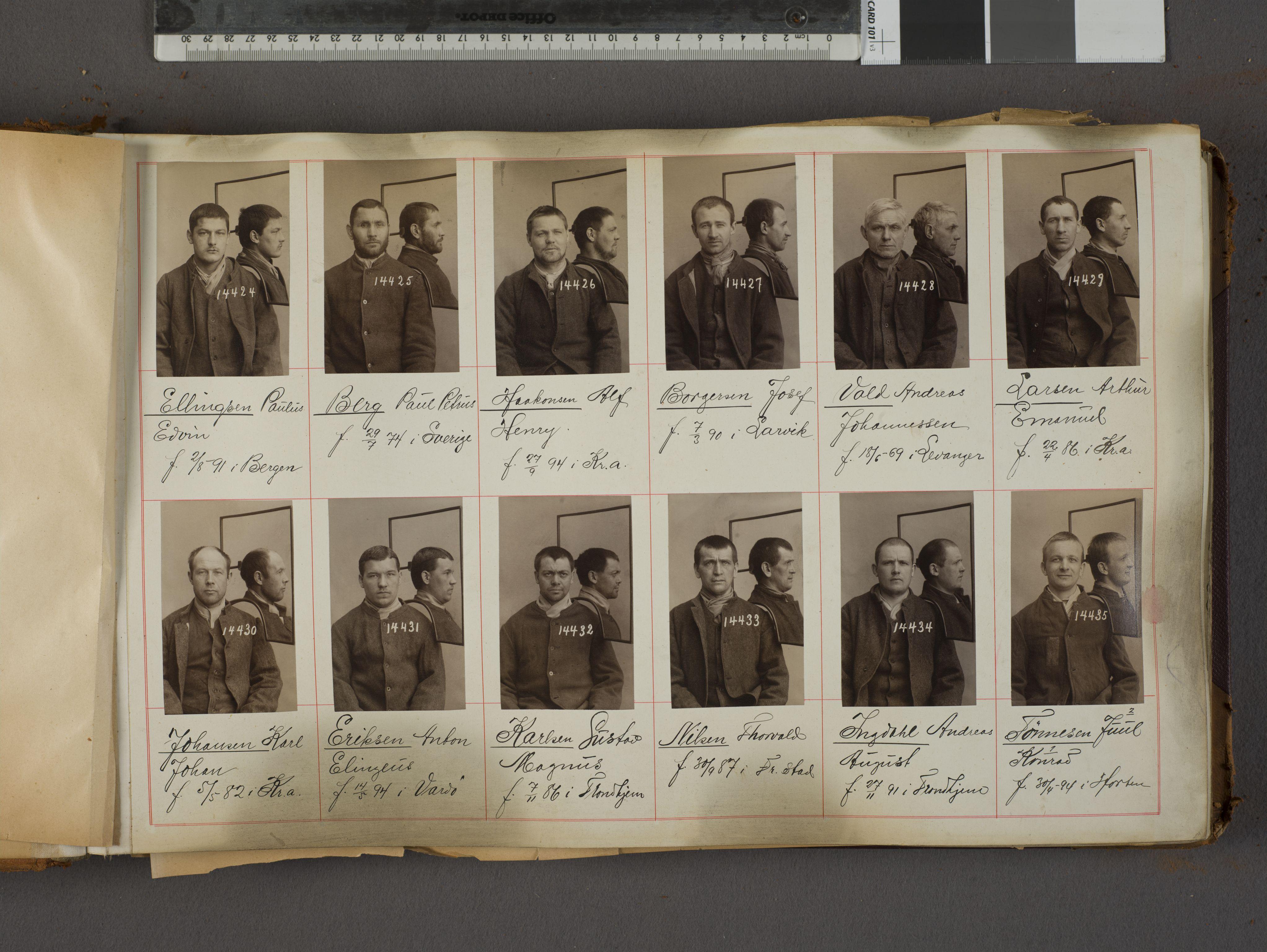 RA, Oslo politikammer, Kriminalavdelingen, U/Ua/L0017: Forbryteralbum, 1915-1920, s. 1