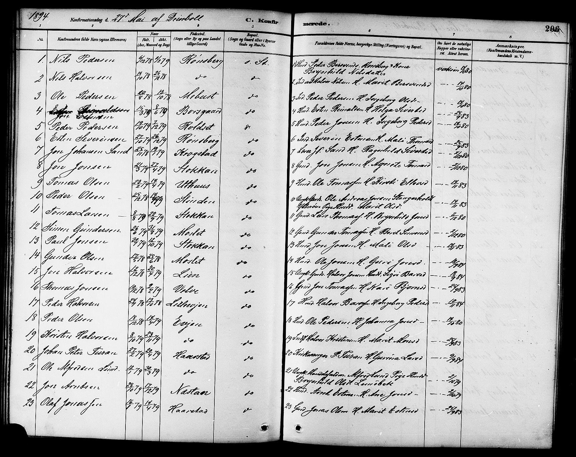 SAT, Ministerialprotokoller, klokkerbøker og fødselsregistre - Sør-Trøndelag, 695/L1157: Klokkerbok nr. 695C08, 1889-1913, s. 206