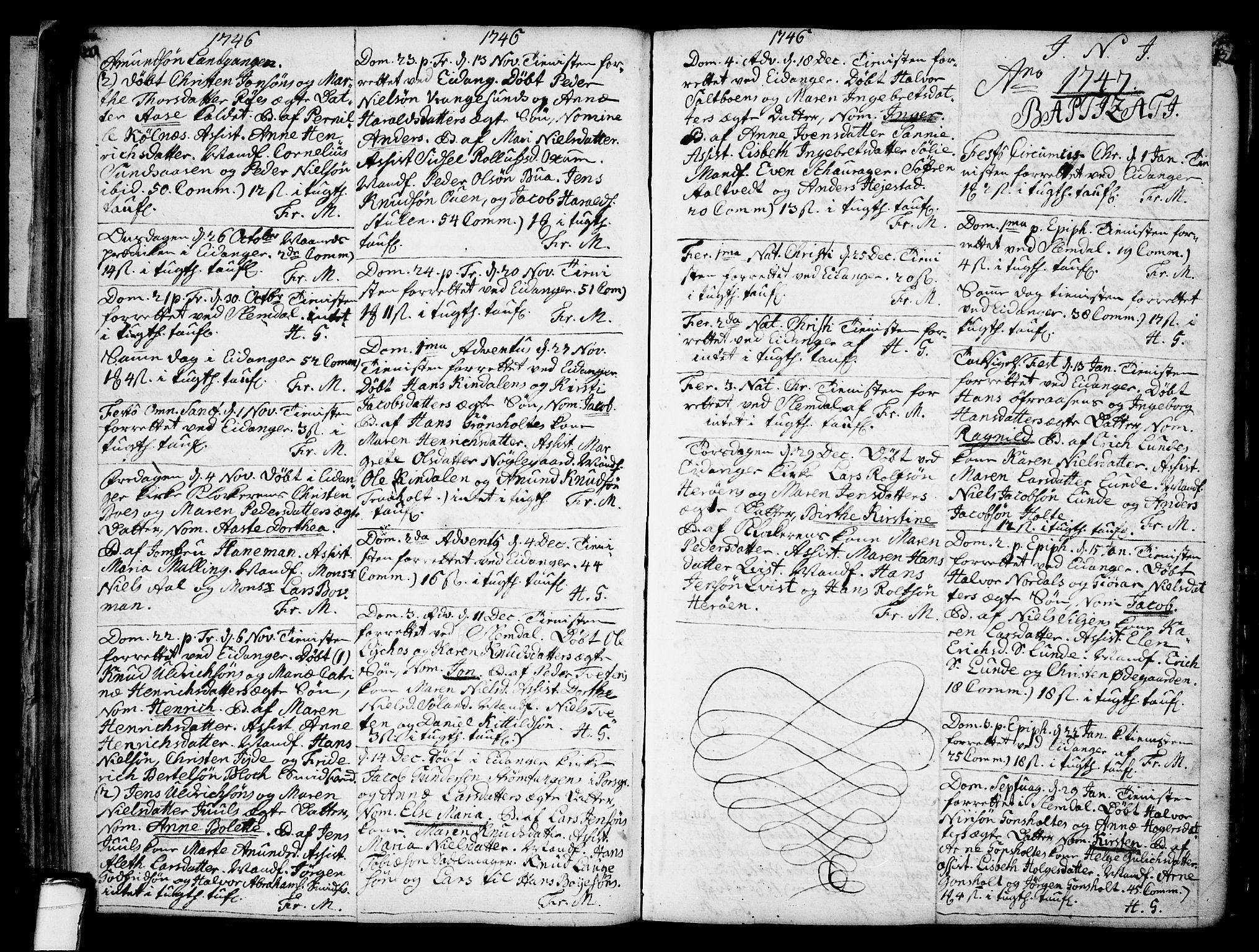 SAKO, Eidanger kirkebøker, F/Fa/L0004: Ministerialbok nr. 4, 1733-1759, s. 120-121
